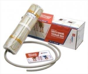 Теплый пол Energy Mat 130Нагревательные маты<br>Energy Mat 130 &amp;mdash; тонкий нагревательный мат, состоящий из двужильного нагревательного кабеля, закрепленного с постоянным шагом на несущей сетке шириной 50 см. Толщина сетки такого нагревательного мата - 1 мм, а кабеля &amp;mdash; 3 мм.Благодаря минимальной толщине мата Energy процесс установки делается менее трудоемким, из-за отсутствия необходимости делать бетонную стяжку и можно устанавливать его в слое плиточного клея толщиной 8 мм, сразу под керамической плиткой или другими напольными покрытиями.Особенности:<br>Потребляемая мощность, Вт 130 Подключение 220В / 50Гц / 1 фДлина секции, м 1,6 Ширина секции, м 0,5Площадь обогреваемого помещения, м2 0,8Степень защиты IP 67Температура рабочей среды,&amp;deg;C -30 + 70 Min температура при установке,&amp;deg;C -5<br><br>Мощность, кВт: 0,13<br>Страна: Великобритания<br>Удельная мощ., Вт/м?: None<br>Длина, м: 1,6<br>Площадь, м?: 0,8<br>Тип кабеля: Двужильный<br>Напряжение, В: 220<br>диаметр нагревательного кабеля, мм: 3,5<br>Изоляция: Есть<br>Экран: Есть<br>Вес, кг: 1<br>Гарантия: 20 лет