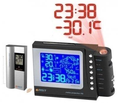 Проекционные часы с метеостанцией Rst 32705Красная проекция<br>Электронные часы с метеостанцией RST 32705   это современные настольные часы с термометром. Модель способна проецировать изображение на стену, оснащены возможностью отключения подсветки дисплея.<br><br>Страна: Швеция<br>Питание, В: Сеть/Бат.<br>Тип батарейки: АА<br>Колво батареек: 2<br>Адаптер к 220В: Есть<br>С будильником: Да<br>Радиодатчик: да<br>С метеостанцией: да<br>В помещении t, С: Да<br>За окном t, С: Да<br>Влажность в помещении: Нет<br>Влажность за окном: Нет<br>Давление: Да<br>Прогноз погоды: Да<br>Габариты, мм: 195х130х90<br>Вес, кг: 1<br>Гарантия: 1 год<br>Ширина мм: 130<br>Высота мм: 195<br>Глубина мм: 90