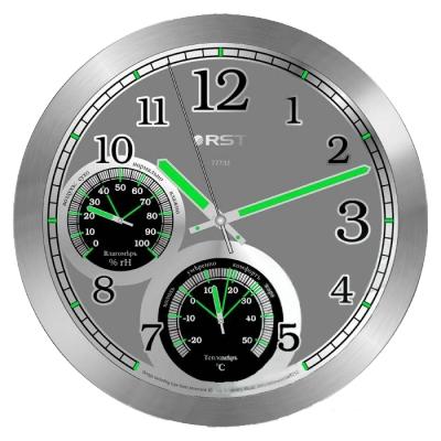 Часы без проекции Rst 77733Часы без проекции<br>Rst 77733 &amp;ndash; это современный прибор, который можно смело назвать настоящей домашней метеостанцией! Данная модель по внешнему виду напоминает обыкновенные настенные часы, но при этом прибор измеряет не только ход времени, но и относительную влажность воздуха в помещении, и его температуру. Такая функциональность придется по душе тем, у кого дома есть маленькие дети. Еще одним достоинством таких часов является реализация возможности свободно пользоваться таким устройством в темное время суток, для чего все основные информативные элементы циферблата выкрашены флуоресцентной краской. &amp;nbsp;&amp;nbsp;&amp;nbsp;&amp;nbsp;&amp;nbsp;<br>Особенности рассматриваемой модели современных &amp;nbsp;настенных часов от торговой марки Rst:<br><br>Изящное стильное исполнение.<br>Классический дизайн циферблата.<br>Настенный вариант&amp;nbsp; крепления.<br>Светящийся в темноте циферблат.<br>Серебристый корпус.<br>Плавный ход секундной стрелки.<br>Термометр со шкалой измерений от -20 до +50&amp;nbsp;оС.<br>Диапазон измерения относительной влажности в помещении: 0~100 % rH.<br>Диаметр корпуса 25 см.<br>Диаметр циферблата 21см.<br><br>&amp;nbsp;<br><br>Страна: Швеция<br>Питание, В: Батарейки<br>Тип батарейки: AA<br>Колво батареек: 1<br>Адаптер к 220В: Нет<br>С будильником: Нет<br>Радиодатчик: None<br>С метеостанцией: None<br>В помещении t, С: Да<br>За окном t, С: Нет<br>Влажность в помещении: Да<br>Влажность за окном: Нет<br>Давление: Нет<br>Прогноз погоды: Нет<br>Габариты, мм: 250х215<br>Вес, кг: 1<br>Гарантия: 1 год