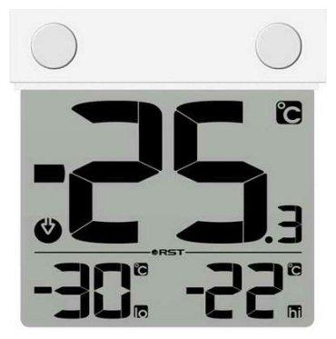Термометр Rst 01289Оконные термометры<br><br>Цифровой термометр-гигрометр предназначен для измерения температуры и относительной влажности воздуха &amp;nbsp;на улице. Информация о погоде на текущий момент, тенденция и динамика её изменения отображаются на LCD дисплее, которым оснащён прибор. Происходит постоянное обновления значений, которое делается на основе полученных данных. Корпус термометра прозрачный, устанавливается на окно с помощью специальных термостойких липучек.<br><br>Производитель: Швеция<br>Назначение: Оконный термометр<br>Страна: Швеция<br>Материал: Пластик<br>Диапазон  t, С: 30+70<br>Питание, В: Батарейки<br>Тип батарейки: ААА<br>Колво батареек: 1<br>Габариты, мм: 99х96х22<br>Вес, кг: 1<br>Гарантия: 1 год<br>Ширина мм: 96<br>Высота мм: 99<br>Глубина мм: 22