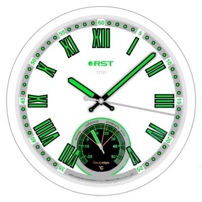Часы без проекции Rst 77727Часы без проекции<br>Rst 77727 представляет собой универсальный прибор, предназначенный для использования в быту &amp;ndash; настенные часы, которые являются просто незаменимыми в ночное время суток. Фон циферблата выполнен в белоснежном цвете, корпус &amp;ndash; в серебристом, а все цифры и деления покрыты специальной флуоресцентной краской, которая светится в темноте. Стоит обратить внимание на то, что приобретая такое устройство, вы получите еще и термометр, что весьма привлекательно за невысокую стоимость. &amp;nbsp;<br><br><br>Особенности рассматриваемой модели современных &amp;nbsp;настенных часов от торговой марки Rst:<br><br>Изящное стильное исполнение.<br>Классический дизайн циферблата.<br>Настенный вариант&amp;nbsp; крепления.<br>Светящийся в темноте циферблат.<br>Серебристый корпус.<br>Плавный ход секундной стрелки.<br>Термометр со шкалой измерений от -20 до +50&amp;nbsp;оС.<br>Диаметр корпуса 32 см.<br>Диаметр циферблата 28см.<br><br>&amp;nbsp;<br><br>Страна: Швеция<br>Питание, В: Батарейки<br>Тип батарейки: AA<br>Колво батареек: 1<br>Адаптер к 220В: Нет<br>С будильником: Нет<br>Радиодатчик: None<br>С метеостанцией: None<br>В помещении t, С: Да<br>За окном t, С: Нет<br>Влажность в помещении: Нет<br>Влажность за окном: Нет<br>Давление: Нет<br>Прогноз погоды: Нет<br>Габариты, мм: 300х260<br>Вес, кг: 1<br>Гарантия: 1 год