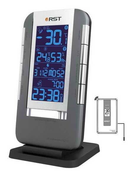 Термометр Rst 02711С радиодатчиком<br>Цифровой электронный термометр с часами RST 02711 с внешним радиодатчиком ( до тридцати метров), с возможностью подключения выносного термосенсорного устройства ( работающего в диапазоне температур -50..+70 &amp;deg;С). Безртутный термометр с выносным датчиком&amp;nbsp;&amp;nbsp;&amp;nbsp; показывает температуру в комнате и на улице, кроме того, содержит в себе часы, будильник и удобный календарь. Всю информацию отображает ЖК-дисплей с подсветкой.&amp;nbsp;<br><br>Страна: Швеция<br>Питание, В: Батарейки<br>Диапазон  t, С: 50+70<br>Тип батарейки: AAA<br>Колво батареек: 2<br>Габариты, мм: 90х160х15<br>Вес, кг: 1<br>Гарантия: 1 год<br>Назначение: С радиодатчиком<br>Ширина мм: 160<br>Высота мм: 90<br>Глубина мм: 15
