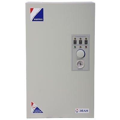Котел Эван 15 Warmos-M15 кВт<br> <br><br>Электрический котел Эван ЭПО-1M-15 Warmos-M. Минимальный уровень выбросов в атмосферу, прибор можно использовать в качестве основного источника тепла. Встроенные нагревательные элементы в виде ТЭНов преобразовывают электрическую энергию в тепловую. Имеющийся теплоноситель омывает греющий элемент и вследствие этого происходит нагревание. Происходит классическая конвекция, осуществляющая естественную циркуляцию теплоносителя.<br>Функциональные возможности электрических котлов класса  Комфорт предусматривают данные преимущества:<br><br>Универсальный моноблок<br>Встроены высокоэффективные нагревательные ТЭНы, которые изготовлены из нержавеющей стали<br>Разработано трехступенчатое изменение мощности<br>Плотная теплоизоляция<br>Самовозвратная защита от перегрева и замораживания<br>Удобная и плавная регулировка температуры теплоносителя<br>Управление температурным режимом системы отопления по температуре воздуха помещения при подключении выносного датчика<br>Колодка для подключения циркулярного насоса<br>КПД более 93%<br>Стабильная функциональная работа при скачках напряжения сети  10%<br>Использование незамерзающей жидкости в качестве теплоносителя<br>Качественная и надежная релейная коммутация включения ТЭНов<br>I класс защиты от поражения электрическим током<br><br>Представленная модель электрического отопительного оборудования полноценно функционирует в системе, как с естественной, так и с принудительной циркуляцией теплоносителя. Разнообразный диапазон незамерзающей жидкости в качестве использования дистиллированной воды, главное требование соответствие нормам СаНПина. Усовершенствованна релейная схема регулирования, что гарантированно оптимизирует чувствительность прибора к резким перепадам напряжения. Благодаря данной технологии балансирования напряжения котел работает непрерывно и надежно многие года. Модель относится к классу Комфорт, встроенная колба находится в специальном теплоизоляционном материале Rockwool, толщиной 20
