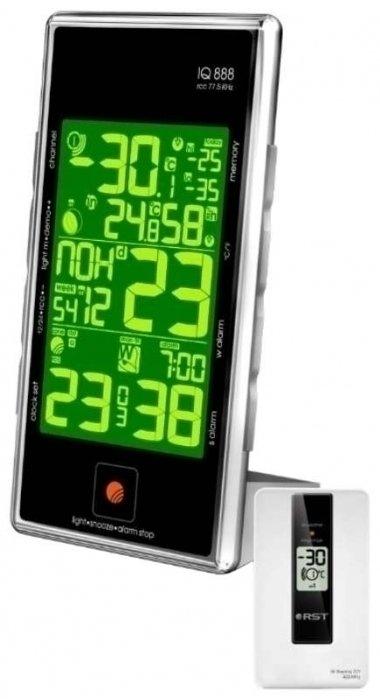 Цифровая метеостанция Rst 02888С радиодатчиком<br>Погодная станция с радиодатчиком &amp;nbsp;RST 02888 &amp;nbsp;занимает лидирующее место на рынке среди покупателей.&amp;nbsp;Прибор имеет возможность ввода высоты над уровнем моря от -100 до 25&amp;nbsp; метров, но необходимо заранее уточнить вашу точную высоту. Оборудование с легкостью сохраняет график изменений атмосферного давления за последние 24 часа. Происходит автоматическое сохранение минимальных и максимальных показателей температур и уровня влажности состояния воздуха.&amp;nbsp;<br>Основные преимущества и технические особенности прибора RST 02888:<br><br>Широкий диапазон измерения температуры<br>Высокий уровень контроля и безопасности<br>Будильник<br>Широкий диапазон измерения уровня влажности воздуха<br>Защита от замерзания<br>Высокочувствительные датчики<br>Поиск ошибок с помощью системы диагностики<br>Автоматическое запоминание температур<br>Монтаж в жилых домах и квартирах<br>Современный внешний вид<br><br>Метеорологическое оборудование изготавливается с применением новых технологий, и каждый продукт проходит испытания в самых суровых погодных условиях. Концерн выпускает надежную и безопасную продукцию в виде профессиональных термометров, высокотехнологичных барометров и многофункциональных погодных станций. Приобретая данную модель оборудования, Вы обеспечиваете себя безукоризненной работой прибора на несколько десятков лет. Такое приобретение будет служить надежно и долго. Благодаря высококачественным составляющим оборудования.&amp;nbsp;<br><br><br>Страна: Швеция<br>Диапазон темп. t, С: 50+70<br>Диапазон p, мм. рт. ст.: None<br>Диапазон rH, : 2099<br>Разрешение t, С: 0,1<br>Цвет корпуса: Черный<br>Питание, В: Сеть/Бат.<br>Колво батареек: 3<br>Тип батарейки: AA<br>Адаптер к 220В: Есть<br>В комнате t, С: Да<br>За окном t, С: Да<br>Влажность в помещении: Да<br>Влажность за окном: Да<br>Давление: Нет<br>Прогноз погоды: Нет<br>Лунный календарь: Да<br>Размер, мм: 160х90х17х80<br>Вес, кг: 1<br>Гарантия: 1 г
