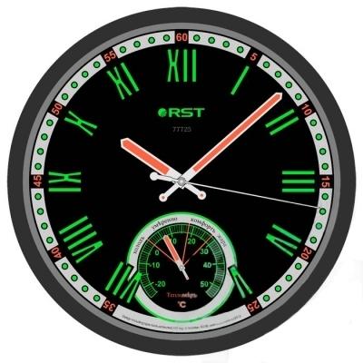 Часы без проекции Rst 77725Часы без проекции<br>Если вы привыкли держать все под контолем, то вам наверняка придется по вкусу современная и практичная модель настенных часов   Rst 77725. Такое устройство вещать на стену спальной комнаты, так как благодаря тому, что стрелки, цифры и все информативные деления циферблата покрыты флуоресцентной краской, разглядеть все показания не составит труда даже в полной темноте. Помимо отсчета времени, данный прибор способен достаточно точно определить еще и температуру воздуха у вас в помещении.  <br>Особенности рассматриваемой модели современных  настенных часов от торговой марки Rst:<br><br>Изящное стильное исполнение.<br>Классический дизайн циферблата.<br>Настенный вариант  крепления.<br>Светящийся в темноте циферблат.<br>Серебристый корпус.<br>Плавный ход секундной стрелки.<br>Термометр со шкалой измерений от -20 до +50 оС.<br>Диаметр корпуса 32 см.<br>Диаметр циферблата 28см.<br><br> <br><br>Страна: Швеция<br>Питание, В: Батарейки<br>Тип батарейки: AA<br>Колво батареек: 1<br>Адаптер к 220В: Нет<br>С будильником: Нет<br>Радиодатчик: None<br>С метеостанцией: None<br>В помещении t, С: Да<br>За окном t, С: Нет<br>Влажность в помещении: Нет<br>Влажность за окном: Нет<br>Давление: Нет<br>Прогноз погоды: Нет<br>Габариты, мм: 300х260<br>Вес, кг: 1<br>Гарантия: 1 год