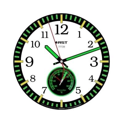 Часы без проекции RstЧасы без проекции<br>Rst 77729   это стильный и удобный, с продуманной функциональностью прибор, представляющий собой настенные часы, которые придутся по вкусу всем, кто любит практичность даже в мелочах. Представленная модель имеет компактные размеры и привлекательный внешний вид, отметки часов и минут выделены зеленым и желтым цветом. Кроме того, они, как и стрелки покрыты флуоресцентной краской, что позволит узнать точное время даже ночью, не включая осветительных приборов. Стоит отметь, что Rst 77729 оборудованы еще и тепломером, благодаря чему, вы всегда сможете контролировать температуру воздуха у вас в помещении.   <br>Особенности рассматриваемой модели современных  настенных часов от торговой марки Rst:<br><br>Изящное стильное исполнение.<br>Настенный вариант  крепления.<br>Светящийся в темноте циферблат.<br>Серебристый корпус.<br>Плавный ход секундной стрелки.<br>Термометр со шкалой измерений от -20 до +50 оС.<br>Размеры корпуса 25х25 см.<br>Диаметр циферблата 21,5 см.<br><br> <br><br>Страна: Швеция<br>Питание, В: Батарейки<br>Тип батарейки: AA<br>Колво батареек: 1<br>Адаптер к 220В: Нет<br>С будильником: Нет<br>Радиодатчик: None<br>С метеостанцией: None<br>В помещении t, С: Да<br>За окном t, С: Нет<br>Влажность в помещении: Нет<br>Влажность за окном: Нет<br>Давление: Нет<br>Прогноз погоды: Нет<br>Габариты, мм: 250х215<br>Вес, кг: 1<br>Гарантия: 1 год