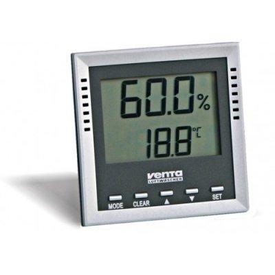 Термометр Venta ТермогигрометрОконные термометры<br> <br>Этот прибор поможет вам постоянно быть в курсе уровня влажности и температуры воздуха, чтобы не пропустить момент, когда необходимо включить или выключить увлажнитель. Если влажность выйдет за обозначенные вами границы, термогигрометр проинформирует вас об этом звуковым сигналом. Пересушенный воздух может вызывать быструю утомляемость, недомогания, головные боли. Врачи рекомендуют поддерживать влажность на уровне 45 65 %, чтобы отлично себя чувствовать и не испытывать дополнительной нагрузки на организм.<br>Характеристики термогигрометра Venta:<br>Пределы измерения влажности: 1 99 % RH.<br>Погрешность:  3 % RH.<br>Пределы измерения температуры: от  40 до +70  С.<br>Погрешность:  1  С.<br>Возможности термогигрометра Venta<br><br><br>Выводит на экран температуру и влажность воздуха.<br><br><br>После включения запоминает максимальные и минимальные показатели температуры и влажности воздуха в комнате.<br><br><br>Если влажность выходит за заданные вами границы, подает звуковой сигнал и включает значок на экране, чтобы указать на необходимость  включения увлажнителя (если влажность упадет ниже критического уровня) или его отключения (если влажность поднимется выше установленного уровня).<br><br><br>Показывает точку росы   температуру, до которой должен опуститься воздух, чтобы находящиеся в нем водяные пары начали превращаться в росу.<br><br><br>Показывает температуру влажного термометра   температуру термометра, который завернут во влажную ткань и находится на открытом воздухе. Если раскрыть термометр, то из-за вызванного испарением охлаждения температура на нем будет меньше температуры воздуха.<br><br><br>Предназначен для контроля за климатическими параметрами в жилых домах, детских организациях, на складах и для проведения тестов (соответствует стандартам ISO 9001).<br><br><br>Термогигрометр Venta имеет откидную ножку и отверстие для болта и отлично будет смотреться как на стене, так и на полке или на столе.<br><