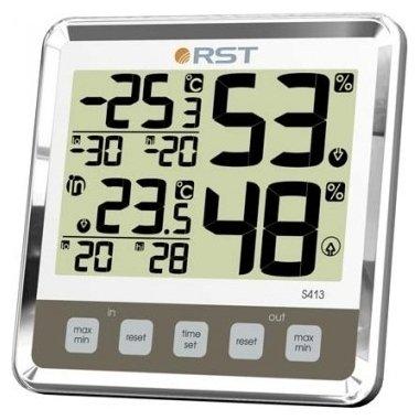 Термометр Rst 02413Оконные термометры<br>RST 02413 &amp;ndash; оконный цифровой термометр, предназначенный для измерения комнатной температуры. Модель выполнена в стильном дизайне, где качественный прозрачный пластик удачно имитирует стеклянный корпус.<br><br>Производитель: Швеция<br>Назначение: Оконный термометр<br>Страна: Швеция<br>Материал: Пластик<br>Диапазон  t, С: 50+70<br>Питание, В: Батарейки<br>Тип батарейки: АА<br>Колво батареек: 2<br>Габариты, мм: 105х105х32<br>Вес, кг: 1<br>Гарантия: 1 год<br>Ширина мм: 105<br>Высота мм: 105<br>Глубина мм: 32
