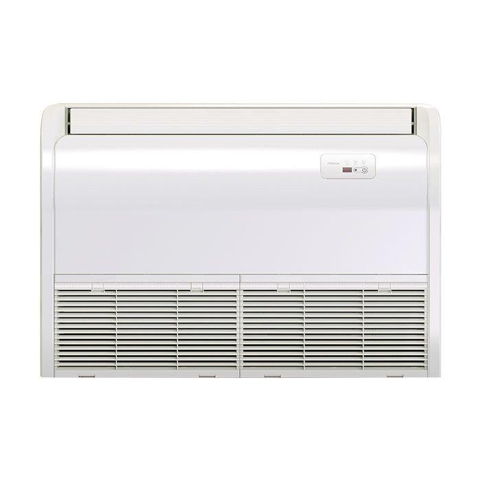 Напольно-потолочный кондиционер Hisense5.5 кВт - 18 BTU<br> <br>С напольно-потолочным кондиционером фирмы Hisense модели AUV-18UR4SA1/AUW-18U4SZ1 в Вашем помещении в любое время года, какая бы за окном не была бы температура, всегда будет свежий воздух наиболее комфортной температуры. Инверторный компрессор, которым оснащена эта сплит-система, положительно влияет на срок эксплуатации прибора, точность поддержания заданной температуры воздуха и его экономичность. Форма лопастей вентилятора была изменена, что поспособствовало значительному уменьшению уровня издаваемого при работе агрегата шума. <br>Особенности модели:<br><br>Энергоэффективность класса А, высокоточное поддержание температуры благодаря технологии DC Inverter<br>Современный дизайн внутреннего блока<br>Специальная двухслойная конструкция жалюзи воздухораспределения гарантирует отсутствие конденсата на поверхности<br>Таймер <br>Функция I feel,  Sleep, Smart, Super<br>3D воздушный поток<br>Возможность изменения направления отвода конденсата<br>ИК-пульт в комплекте<br>Низкий уровень шума благодаря специально разработанной форме вентилятора   34 дБ(А)<br>Max перепад высот 15 м, max длина трассы 50 м<br>Возможность подключения проводного пульта<br>Возможность организации подмеса свежего воздуха<br>Автоматический перезапуск<br>Система самодиагностики и защиты<br>Возможность подключения проводного пульта<br>Возможность подключения детектора карты доступа (для гостиниц)<br><br><br>Этот напольно-потолочный кондиционер Hisense оснащен мощным инверторным компрессором. Инверторная технология позволяет поддерживать в помещении нужную температуру воздуха, израсходовав на это гораздо меньшее количество электрической энергии. Что еще не маловажно   любая климатическая техника, оборудованная инверторным компрессором, будет служить заметно дольше, чем та, компрессор которой не инверторный.<br>С этой сплит-системой Вы сможете не только менять температуру воздуха в помещении, а еще и делать его более свежим и здоровым. Режим