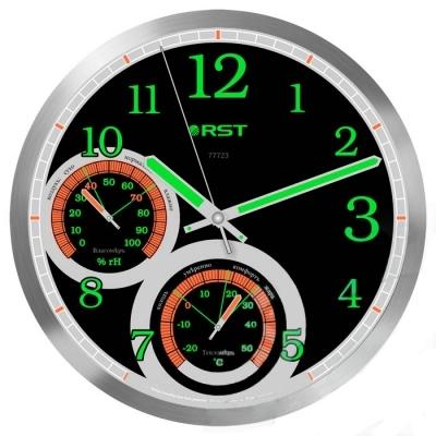 Часы без проекции Rst 77723Часы без проекции<br>&amp;nbsp;Rst 77723 &amp;ndash; это качественные настенные часы, выполненные в современном дизайне, где великолепно гармонируют черный фон циферблата и серебристая рамка корпуса, что позволит разместить такое устройство практически в любом интерьере вашего дома или квартиры. Прибор имеет классическую круглую форму и небольшие размеры. Стрелки и цифры выкрашены флуоресцентной краской, благодаря чему показания стрелок можно легко увидеть даже в полной темноте. Кроме этого, преимуществом модели является и наличие в устройстве гигрометра, который показывает влажность воздуха в помещении и термометра. &amp;nbsp;&amp;nbsp;<br>Особенности рассматриваемой модели современных &amp;nbsp;настенных часов от торговой марки Rst:<br><br>Изящное стильное исполнение.<br>Классический дизайн циферблата.<br>Настенный вариант&amp;nbsp; крепления.<br>Светящийся в темноте циферблат.<br>Серебристый корпус.<br>Плавный ход секундной стрелки.<br>Термометр со шкалой измерений от -20 до +50&amp;nbsp;оС.<br>Диапазон измерения относительной влажности в помещении: 0~100 % rH.<br>Диаметр корпуса 35 см.<br>Диаметр циферблата 31см.<br><br>&amp;nbsp;<br><br>Страна: Швеция<br>Питание, В: Батарейки<br>Тип батарейки: AA<br>Колво батареек: 1<br>Адаптер к 220В: Нет<br>С будильником: Нет<br>Радиодатчик: None<br>С метеостанцией: None<br>В помещении t, С: Да<br>За окном t, С: Нет<br>Влажность в помещении: Да<br>Влажность за окном: Нет<br>Давление: Нет<br>Прогноз погоды: Нет<br>Габариты, мм: 300х260<br>Вес, кг: 1<br>Гарантия: 1 год