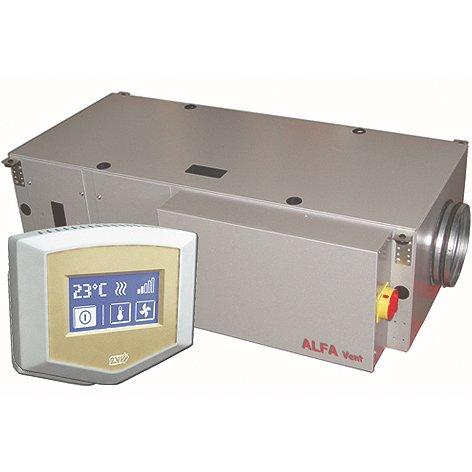 Канальная приточная установка 2vv ALFA-C-05FS-DP-2500 м?/ч<br>Отличным решением вопросов, связанных с налаживанием вентиляции в помещениях различной направленности, является приточная установка 2vv ALFA-C-05FS-DP-2. Данное оборудование имеет передовую комплектацию, довольно просто в техническом обслуживании, а также поставляется совместно с удобным пультом дистанционного управления, на котором размещен сенсорный дисплей.<br>Особенности и преимущества приточных установок 2vv серии ALFA-C (Comfort):<br><br>воздухопроизводительность от 500 до 8 000 м /ч;<br>модели с электрическим или водяным нагревателем, водяным охладителем;<br>встроенная автоматика с возможностью программирования режимов работы;<br>в комплекте выносной пульт с сенсорным управлением и соединительный кабель 10 м;<br>интегрированные датчики температуры: канальный и комнатный;<br>встроенная секция шумоглушения;<br>встроенная защита от замерзания по воздуху и по воде для установок с водяным нагревателем;<br>северная версия для регионов с холодным климатом.<br><br>Обратите внимание:<br><br>устройство предназначено для установки в горизонтальном положении.<br>устройство необходимо установить так, чтобы осталось свободное пространство, достаточное для проведения технического обслуживания, сервиса или демонтажа.<br>устройство прикрепляется с помощью подвесных держателей, находящихся на обеих боковых сторонах устройства.<br>устройство должно быть прикреплено так, чтобы была исключена возможность падения.<br>на расстоянии до 100 мм от корпуса установки и 500 мм от входного патрубка установки не должно быть никаких горючих материалов.<br><br>Обеспечить приток свежего воздуха в офис, квартиру, дом или в магазин поможет  ALFA-C (Comfort) . Это семейство вентиляционных приточных установок от торговой марки 2vv, представленное широким модельным рядом. Серия включает агрегаты с нагревом электрического типа, а также с водяным нагревателем. Каждое устройство оборудовано интегрированной автоматикой для регулирования раб