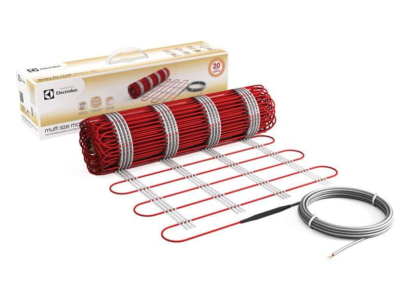 Теплый пол Electrolux EMSM 2-150-3Нагревательные маты<br> <br>Нагревательные маты  Electrolux EMSM 2-150-3 позволяют обеспечивать обогрев пола полезной площадью от трех квадратных метров. Тканая основа из арамидных нитей обладает высокой эластичность и позволяет растягивать нагревательный мат, увеличивая его площадь и придавая ему нужную форму. Благодаря этому Вы можете увеличить площадь нагрева пола в диапазоне до 35%.<br>Три слоя изоляции из высококачественного фторопласта обеспечивают пожарную и электрическую безопасность мата.<br>Особенности прибора:<br><br>Сверхтонкая нагревательная основа<br>Тканая эластичная основа изготовлена из арамидных нитей<br>Растягивающаяся конструкция<br>Увеличение площади покрытия до 35 %<br>Возможность корректировать форму мата<br>Возможность корректировать мощность мата на единицу площади пола<br>Возможность укладки под любое напольное покрытие, включая деревянный пол<br>Тройная изоляция греющих жил<br>Повышенная износоустойчивость<br>Устойчив к перегревам<br>Устойчив к механическим повреждениям и химическим воздействиям<br>Выдерживает пробивное напряжение до 4000 В<br>Класс защиты IPX7<br><br> Нагревательные маты серии MULTI SIZE MAT изготовлены на основе новейших технологических разработок с учетом повышенных требований как к прочности и надежности продукции, так и к ее потребительским характеристикам.<br> Тканая основа имеет высокий показатель эластичности, благодаря чему Вы можете без опасности повреждения нагревательных элементов придать мату любую желаемую форму   от ромба или трапеции до придания округлых или дугообразных форм. Благодаря этому Вы можете обеспечить обогрев пола в помещении любой, даже самой сложной формы, обходя все нежелательные для нагрева места и мебель, используя максимально полезную нагревательную площадь мата.<br> Эластичность основы обеспечивает также возможность изменять его удельную мощность в диапазоне 150-111 Вт/м2. Благодаря этому Вы самостоятельно определяете потенциал нагревателя еще на этапе ук