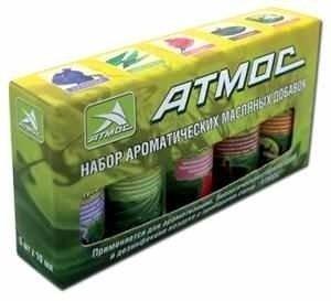 Ароматические добавки для увлажнителей воздуха Атмос (5 шт х 5 мл)Аксессуары<br> <br>Масляные ароматические добавки изготовлены из натуральных растительных компонентов. Применяются в приборах увлажнения и очистки воздуха.<br>Ароматические добавки способствуют:<br><br>Удалению неприятных запахов;<br>Бактерицидной и биологической обработке воздуха;<br>Наполнение воздуха целебными ароматами, которые положительно воздействуют на организм человека.<br><br>В наборе 5 ароматов: лаванда, эвкалипт, роза, сандал и антитабак.<br><br>Страна: Германия<br>Тип батарейки: None<br>Количество батареек: None<br>Диапазон t, С: None<br>Питание: None<br>Материал: None<br>Запах: Нет<br>Вес, кг: 1<br>ГабаритыВШГ, мм: None