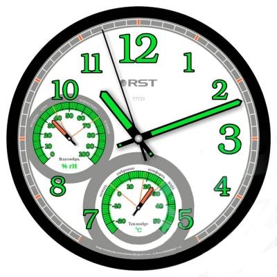 Часы без проекции Rst 77721Часы без проекции<br>&amp;nbsp;В современном ритме жизни все больше людей стремится создать максимально комфортную атмосферу у себя дома. А для того, чтобы поддерживать нормальное соотношение температуры и относительной влажности воздуха, вам понадобилось бы сразу несколько приборов. Мы предлагаем вашему вниманию настоящую домашнюю метеостанцию &amp;ndash; настенные часы с термометром и гигрометром Rst 77721! Данная модель имеет компактные размеры и дизайн, который прекрасно сочетает в себе серебристую рамку и белый фон циферблата. Стоит отметить, что все стрелки и цифры светятся в темноте.<br>Особенности рассматриваемой модели современных &amp;nbsp;настенных часов от торговой марки Rst:<br><br>Изящное стильное исполнение.<br>Классический дизайн циферблата.<br>Настенный вариант&amp;nbsp; крепления.<br>Светящийся в темноте циферблат.<br>Серебристый корпус.<br>Плавный ход секундной стрелки.<br>Термометр со шкалой измерений от -20 до +50&amp;nbsp;оС.<br>Диапазон измерения относительной влажности в помещении: 0~100 % rH.<br>Диаметр корпуса 35 см.<br>Диаметр циферблата 31см.<br><br>&amp;nbsp;<br><br>Страна: Швеция<br>Питание, В: Батарейки<br>Тип батарейки: AA<br>Колво батареек: 1<br>Адаптер к 220В: Нет<br>С будильником: Нет<br>Радиодатчик: None<br>С метеостанцией: None<br>В помещении t, С: Да<br>За окном t, С: Нет<br>Влажность в помещении: Да<br>Влажность за окном: Нет<br>Давление: Нет<br>Прогноз погоды: Нет<br>Габариты, мм: 300х260<br>Вес, кг: 1<br>Гарантия: 1 год