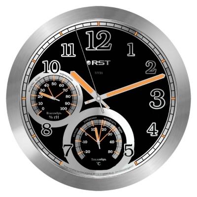 Часы без проекции Rst 77731Часы без проекции<br>&amp;nbsp;77731 - это настоящая автономная домашняя метеостанция, которая, несомненно, придется по душе всем, кто привык держать абсолютно все под контролем. Основными достоинствами такого устройства является наличие в конструкции еще двух элементов, которые делают представленную модель многофункциональным прибором &amp;ndash; это встроенный термометр и гигрометр, которые достаточно точно проинформируют вас о состоянии температуры и относительной влажности в помещении. При этом такие часы выполнены в современном стильном дизайне серебристого цвета, а в ночное время суток стрелки и деления циферблата светятся желтым цветом. &amp;nbsp; &amp;nbsp; &amp;nbsp; &amp;nbsp;&amp;nbsp;<br>Особенности рассматриваемой модели современных &amp;nbsp;настенных часов от торговой марки Rst:<br><br>Изящное стильное исполнение.<br>Классический дизайн циферблата.<br>Настенный вариант&amp;nbsp; крепления.<br>Светящийся в темноте циферблат.<br>Серебристый корпус.<br>Плавный ход секундной стрелки.<br>Термометр со шкалой измерений от -20 до +50&amp;nbsp;оС.<br>Диапазон измерения относительной влажности в помещении: 0~100 % rH.<br>Диаметр корпуса 25 см.<br>Диаметр циферблата 21см.<br><br>&amp;nbsp;<br><br>Страна: Швеция<br>Питание, В: Батарейки<br>Тип батарейки: AA<br>Колво батареек: 1<br>Адаптер к 220В: Нет<br>С будильником: Нет<br>Радиодатчик: None<br>С метеостанцией: None<br>В помещении t, С: Да<br>За окном t, С: Нет<br>Влажность в помещении: Да<br>Влажность за окном: Нет<br>Давление: Нет<br>Прогноз погоды: Нет<br>Габариты, мм: 250х215<br>Вес, кг: 1<br>Гарантия: 1 год