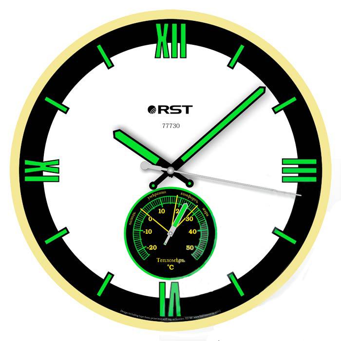Часы без проекции Rst 77730Часы без проекции<br>Предлагаем вашему вниманию современный и многофункциональный прибор   настенные часы RST 77730. Данная модель отличается легким, не перегружающим интерьер помещения дизайном, который сочетает в себе черно-белый циферблат и рамку, имитирующую дерево цвета  береза . На таком фоне контрастно выделяются цифры, деления, а также стрелки часов и минут, окрашенные флуоресцентной краской зеленого и желтого цвета, что делает их удобочитаемыми даже в темное время суток. Стоит обратить внимание на то, что такие часы оснащены высокоточным термометром, который в любое время дня и ночи покажет температуру воздуха у вас дома.<br>Особенности рассматриваемой модели современных  настенных часов от торговой марки Rst:<br><br>Изящное стильное исполнение.<br>Классический дизайн циферблата.<br>Настенный вариант  крепления.<br>Светящийся в темноте циферблат.<br>Серебристый корпус.<br>Плавный ход секундной стрелки.<br>Термометр со шкалой измерений от -20 до +50 оС.<br>Диапазон измерения относительной влажности в помещении: 0~100 % rH.<br>Диаметр корпуса 32 см.<br>Диаметр циферблата 28 см.<br><br> <br><br>Страна: Швеция<br>Питание, В: Батарейки<br>Тип батарейки: AA<br>Колво батареек: 1<br>Адаптер к 220В: Нет<br>С будильником: Нет<br>Радиодатчик: None<br>С метеостанцией: None<br>В помещении t, С: Да<br>За окном t, С: Нет<br>Влажность в помещении: Нет<br>Влажность за окном: Нет<br>Давление: Нет<br>Прогноз погоды: Нет<br>Габариты, мм: 300х260<br>Вес, кг: 1<br>Гарантия: 1 год