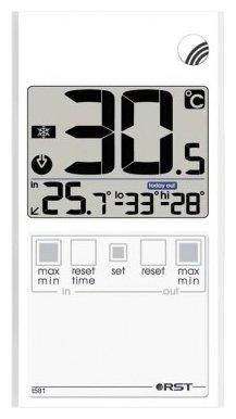 Термометр Rst 01581Оконные термометры<br>&amp;nbsp;<br>Цифровой термометр-гигрометр предназначен для измерения температуры и относительной влажности воздуха &amp;nbsp;на улице. Информация о погоде на текущий момент, тенденция и динамика её изменения отображаются на LCD дисплее, которым оснащён прибор. Происходит постоянное обновления значений, которое делается на основе полученных данных. Корпус термометра прозрачный, устанавливается на окно с помощью специальных термостойких липучек.<br><br>Производитель: Швеция<br>Назначение: Оконный термометр<br>Страна: Швеция<br>Материал: Пластик<br>Диапазон  t, С: 50+70<br>Питание, В: Батарейки<br>Тип батарейки: CR2032<br>Колво батареек: 1<br>Габариты, мм: 52х96х7<br>Вес, кг: 1<br>Гарантия: 1 год<br>Ширина мм: 96<br>Высота мм: 52<br>Глубина мм: 7
