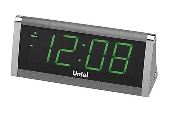 Часы без проекции Uniel UTL-12GBrЧасы без проекции<br>Подбираете настольные часы? Компания UNIEL представляет новинку &amp;ndash; сетевую электронную модель UTL-12GBr с LED-дисплеем и диммером HI-LO, который автоматически регулирует яркость подсветки. Среди особенностей стоит выделить приятную зеленую подсветку, 12-часовой формат времени, большие цифры, а также стильный дизайн и устойчивую конструкцию. Работает гаджет и от сети 220В, и от батареек типа 6LR61.<br>Основные преимущества использования рассматриваемой модели многофункциональных электронных часов&amp;nbsp;от торговой марки UNIEL:<br><br>Стильный эргономичный дизайн.<br>Компактные размеры конструкции.<br>Часы электронные сетевые.<br>LED дисплей.<br>Высота цифр 44 мм.<br>Авторегулировка яркости дисплея (HI-LO диммер).<br>Двенадцатичасовой формат времени.<br>Сетевой адаптер 220В.<br>Резервное питание 6LR61. &amp;nbsp;<br>Высокое качество и комфорт в управлении.<br><br>Линейка многофункциональных часов от известной торговой марки UNIEL, несомненно, придется по вкусу всем любителям технологий. Эти устройства представляют собой современные гаджеты, которые оснащены не только индикатором точного времени, но и еще множеством дополнительных возможностей. Например, это функция &amp;laquo;Snooze&amp;raquo; у будильника. Дословно &amp;laquo;Snooze&amp;raquo; переводится, как &amp;laquo;вздремнуть&amp;raquo;. То есть будильник позволяет несколько раз откладывать сигнал, что весьма понравится любителям подольше полежать в кровати по утрам.<br><br>Страна: Китай<br>Питание, В: Сеть/Бат.<br>Тип батарейки: 6LR61<br>Колво батареек: 1<br>Адаптер к 220В: Есть<br>С будильником: Да<br>Радиодатчик: None<br>С метеостанцией: None<br>В помещении t, С: Нет<br>За окном t, С: Нет<br>Влажность в помещении: Нет<br>Влажность за окном: Нет<br>Давление: Нет<br>Прогноз погоды: Нет<br>Габариты, мм: 215x90x70<br>Вес, кг: 1<br>Гарантия: 1 год<br>Ширина мм: 90<br>Высота мм: 215<br>Глубина мм: 70