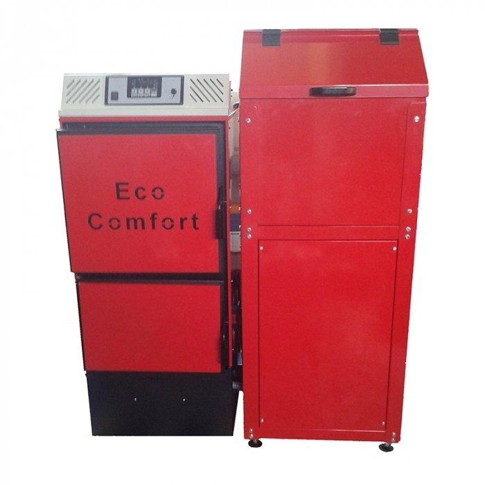 Котел ACV ECO COMFORT 3530 кВт<br>ACV (АЦВ) ECO COMFORT 35   это передовой котел, работающий на гранулированном топливе и предназначенный для службы в домах и на небольших предприятиях.  Данное оборудование отличается высокой автономностью и практически не нуждается в участии пользователя в процессе эксплуатации. Система самостоятельной подачи топлива обеспечивает продолжительную беспрерывную работу котла.<br>Особенности и преимущества:<br><br>Автоматическая работа котла (автоматизированная работа без постоянного присутствия пользователя)<br>Автоматический электророзжиг<br>Автоматизация управления отоплением (управление бойлером или буферной емкостью подключение стандартных комнатных термостатов)<br>Универсальность монтажа бункера (с левой или с правой стороны котла)<br>Плавное регулирование мощности<br>Максимальная пожаробезопасность (двухшнековая система подачи противопожарный клапан между шнеками* защита от обратной тяги)<br>Продолжительное время автономной работы (бункер в комплекте на 240л)<br>Система защиты от перегрева (вспомогательная система на основе встроенного теплообменника)<br>Долгий ресурс службы (увеличенная толщина стенок 5 мм)<br>Высокая эффективность и экологичность (точное дозирование воздуха для горения и режим пониженной теплогенерации)<br><br>Пеллетные котлы ACV серии ECO COMFORT   это современное отопительное оборудование высокого качество, способное автоматически поддерживать оптимальный режим работы без участия пользователей в течение нескольких дней. Технологичная конструкция обуславливает гибкость монтажа котлов, а высокая экологичность и встроенная система безопасности позволяют применять данные модели на жилых участках. <br><br>Страна бренда: Бельгия<br>Производство: Бельгия<br>Топливо котла: Пеллеты<br>Мощ. уголь, кВт: None<br>Мощ. дрова, кВт: None<br>Мощ. торф, кВт: None<br>Мощ. пеллеты, кВт: 35,0<br>Тип котла: Энергозависимые<br>Режим работы: Отопление<br>Камера сгорания: Закрытая<br>Теплообменник: Медный<br>Колво секций: 1<br>Тип ус