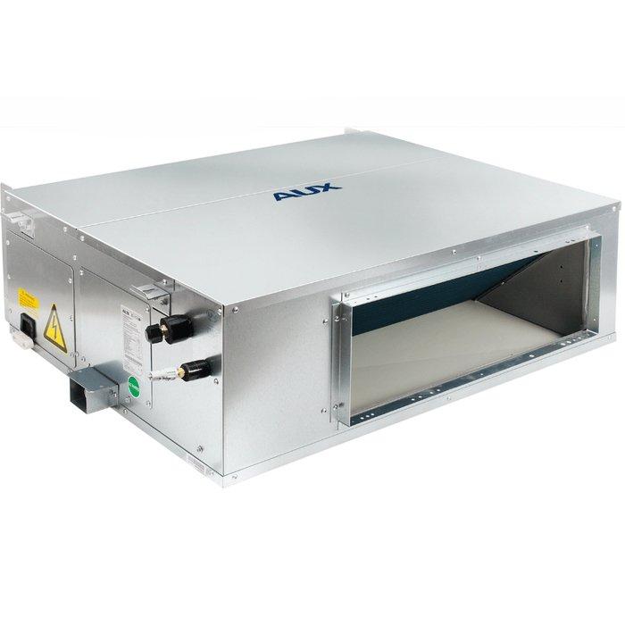 Канальный кондиционер AUX AL-H18/4R1(U)/ALMD-H18/4R15.5 кВт - 18 BTU<br>Модель AUX (АУКС) AL-H18/4R1(U)/ALMD-H18/4R1 представляет собой канальную сплит-систему передового поколения, исполненную из прочного и качественного материала, а также оборудованную современным полным стандартным функционалом. Рассматриваемое устройство монтируется в межпотолочное пространство или в стену, поэтому совершенно не нарушает интерьер.<br>Основные достоинства серии полупромышленных канальных сплит-систем AUX ALMD:<br><br>Конструкция приборов позволяет устанавливать внутренние блоки практически в любом месте, обеспечивая широкие возможности проектирования систем кондиционирования для просторных помещений.<br>Конструкция узлов и элементов кондиционера разработана таким образом, что позволяет подключить воздуховоды к инженерным системам объекта, а именно, вентиляции.<br>Высокая производительность в любом из режимов работы.<br>За счет того, что одна канальная сплит-система способна обслужить сразу несколько помещений, потребитель экономит на приобретении и монтаже оборудования.<br>Возможность интеграции в стационарную систему вентиляции здания.<br>Невысокая стоимость оборудования и монтажа (охлаждение и вентиляция нескольких помещений происходит за счет одной сплит-системы).<br>Комфортный уровень шума во время работы вентилятора внутреннего блока.<br><br>Комплекты канальных сплит-систем от AUX позволяют современному пользователю организовать полноценную систему кондиционирования помещений различного типа и масштаба в фитнес-центрах, торговых залах, торговых центрах и на других коммерческих объектах. Модели изготовлены надежной производственной компанией и стабильно прослужат на протяжении длительного срока.<br><br>Страна: Китай<br>Охлаждение, кВт: 5,1<br>Обогрев, кВт: 6,3<br>Площадь, м?: 50<br>Компрессор: Не инвертор<br>Потребляемая мощность охлаждения, Квт: None<br>Потребляемая мощность обогрева, Квт: None<br>Воздухообмен, мsup3;/ч: 1000<br>Габариты внеш. блока ВШГ: 590x800x300<br>Габар