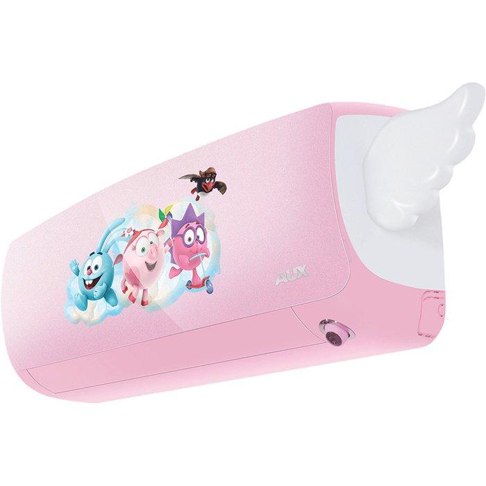Настенный кондиционер AUX AWG-H09PN/R1DI AS-H09/R1DI35 м? - 3.5 кВт<br>Новейшая и высокоэффективная сплит-система модели AUX (АУКС) AWG-H09PN/R1DI AS-H09/R1DI бережно позаботиться о здоровье и самочувствии вашего ребенка и поможет создать в детской самый оптимальный микроклимат, а также преобразит интерьер. Благодаря интеллектуальным функциям рассматриваемое оборудование можно безопасно использовать даже в ночное время.<br>Особенности и преимущества настенных сплит-систем AUX серии Kids Inverter:<br><br>Управление по Wi-Fi сетям (опция)<br>Предельно низкий уровень шума, от 19 дБ<br>Технология  Smart Eye <br>IFD-фильтр, комплексная очистка воздуха<br>Антиформальдегидный фильтр<br>Энергоэффективность А-класса<br>Уникальный дизайн внутреннего блока  с персонажами любимого мультсериала<br>Технология  Smart DC-inverter <br>Функция  Родительский контроль <br>Режим  Детский сон <br>Компрессор повышенной надежности.<br><br>Настенные сплит-системы AUX серии Kids Inverter представляют собой модели с нежным детским дизайном и непревзойденным функциональным оснащением, особенности которого обеспечивают наилучшие условия в помещении, где находится ребенок. Экономичные, долговечные и тихие кондиционеры имеют два цветовых исполнения, а также различаются по номинальной мощности.<br> <br><br>Горизонтальная регулировка потока: Нет<br>Страна бренда: Китай<br>Уровень шума, дБа: 47<br>Габариты ВхШхГ, см: 54x72x26<br>Производитель: Китай<br>Вес, кг: 27<br>Компрессор: Инвертор<br>Площадь, м?: 25<br>Уровень шума, дБа: 19<br>Режим работы: холод/тепло<br>Габариты ВхШхГ, см: 29x87,5x20,4<br>Охлаждение, кВт: 2,6<br>Вес, кг: 10<br>Обогрев, кВт: 3,7<br>Потребление при охлаждении, кВт: 0,77<br>Потребление при обогреве, кВт: 1,02<br>Охлаждающая способность, тыс. BTU: 9<br>Диапазон t на охлаждение, С: +5...+47<br>Диапазон t на обогрев, С: +5...+47<br>Расход воздуха, м3/ч: 570<br>Хладагент: R410A<br>Max длина трассы, м: 10<br>диаметр газовой трубы, дюйм: 3/8<br>диаметр жидкостной трубы, дюйм: 1/4<br