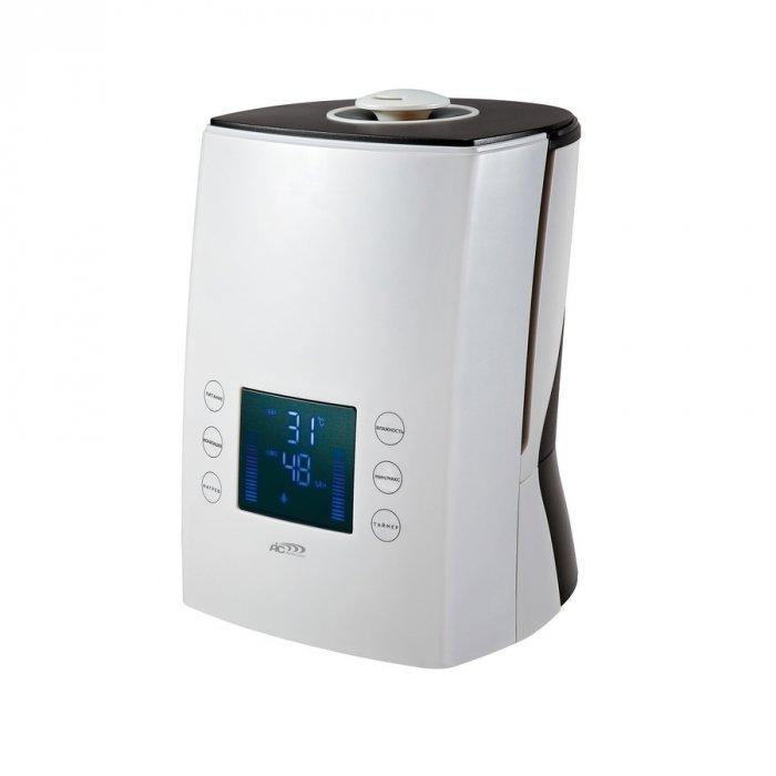 Увлажнитель воздуха Aic SPS902Ультразвуковые<br>Aic (Аик) SPS902 представляет собой современный увлажнитель воздуха ультразвукового типа. Модель имеет удобное электронное управление, с помощью которого пользователь сможет легко изменять настройки, регулируя производительность увлажнения, программируя таймер и включая/отключая ионизатор. Устройство выполнено в современном компактном дизайне.<br>Основные характеристики рассматриваемой модели ультразвукового увлажнителя воздуха:<br><br>Автоматическое выключение прибора при недостаточном уровне воды.<br>Отключаемый режим ионизации.<br>Бесшумный и энергосберегающий.<br>Легкость наполнения бака для воды.<br>Предварительный подогрев воды.<br>Прибор эффективно увеличивает, а так же, регулирует относительную влажность в помещении.<br>Отображение показателей влажности и температуры на светодиодном экране.<br>Таймер работающий на выключение.<br>Пульт Д/У.<br>Ночная подсветка.<br>Снижает (устраняет) электростатические заряды.<br>Предотвращает различные заболевания.<br>Положительно воздействует на поверхность кожных покровов, сохраняя внешний вид и молодость кожи.<br>Сбалансированное распределение влажности при помощи двухстороннего распылителя пара.<br><br>Ультразвуковые увлажнители компании AIC являются одними из самых популярных на рынке климатической техники в настоящее время. Такой спрос обусловлен высоким качеством приборов, а также их функциональностью. Такие приборы используются для увеличения относительной влажности в помещениях, где воздух по каким-то причинам слишком пересушен. Работа увлажнителей основана на том, что ультразвуковые колебания на высоких частотах разбивают воду на мельчайшие частички, которые в последствии распыляются в помещение. Помимо увлажнения, модели марки AIC еще и очищают воздух, насыщая его ионами.<br><br>Страна: Италия<br>Производитель: Китай<br>Площадь, м?: 30<br>Площадь по очистке, м?: Нет<br>Обьем бака, л: 5<br>Колво режимов работы: 5<br>Расход воды, мл/ч: 300<br>Гигростат: Да<br>Гигрометр
