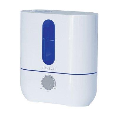 Увлажнитель воздуха Boneco U201A whiteУльтразвуковые<br>Boneco (Бонеко) U201A white   это стильный, простой в использовании и многофункциональный прибор, который производит увлажнение воздуха в помещениях при помощи ультразвуковых колебаний, которые расщепляют воду и подают ее в воздух. Работа осуществляется от сети электричества, для переключения между режимами предусмотрен удобный регулятор. Помимо основной функции такой прибор может послужить в качестве ночника, потому как резервуар подсвечивается мягким синим светом.<br>Основные преимущества рассматриваемой модели бытового увлажнителя  воздуха Boneco:<br><br>Механическая система управления при помощи удобного регулятора.<br>Стильный современный дизайн.<br>Мобильность и функциональность.<br>Вместительная емкость для воды с прозрачной вставкой.<br>Холодный пар.<br>Встроенный электронный гигростат.<br>Индикаторы окончания воды и необходимости в очистке прибора.<br>Светодиодная индикация работы.<br>Невероятно низкий уровень звукового давления.<br>AG+ картридж с частицами серебра.<br>Поворотный распылитель 360 .<br>Сменный наполнитель для картриджа.<br>Долговечная  золотая  мембрана (покрытие titaniumnitrite).<br>Автоматическое отключение при низком уровне воды.<br>Удобна ручка для переноски изделия.<br><br>Ультразвуковые увлажнители воздуха  Boneco Air-O-Swiss   это приборы, которые, несомненно, необходимы в каждом доме. Приборы серии U можно брать с собой в поездку или на работу, ведь они имеют компактные размеры и не займут много места. Работа таких устройств заключается в том, что ультразвуковая мембрана разбивает воду на мельчайшие частички и устройство, при помощи встроенного вентилятора подает их в помещение в виде пара или тумана. Все приборы выполнены в современном дизайне, на выбор предоставляется несколько ярких цветовых вариантов исполнения.<br><br>Страна: Швейцария<br>Производитель: Чехия<br>Площадь, м?: 50<br>Площадь по очистке, м?: Нет<br>Обьем бака, л: 3,5<br>Колво режимов работы: 1<br>Расход воды, мл