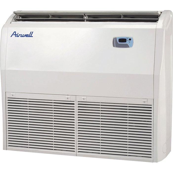 Напольно-потолочный кондиционер Airwell AWSI-FAF 024 N11/AWAU-YIF 024 H117.0 кВт - 24 BTU<br>Для организации комфортного климата на территории административных и коммерческих помещений средней или большой площади, в которых отсутствуют натяжные потолки для скрытого размещения, идеально подходит современный напольно-потолочный кондиционер модели AIRWELL AWSI-FAF 024 N22/AWAU-YIF 024 H22. Данное устройство может работать при низких уличных температурах.<br>Особенности и преимущества кондиционеров AIRWELL представленной серии:<br><br>Компактный дизайн<br>4-х мерный поток - улучшенное охлаждение / нагрев благодаря движению жалюзи вверх-вниз<br>Автоматический режим - автоматический выбор охлаждения или обогрева для поддержания заданной температуры<br>Режим осушения<br>Режим комфортного сна<br>Функция I FEEL - точное регулирование температуры в выбранной зоне благодаря датчику на беспроводном пульте<br>Турбо-режим<br>Система самодиагностики<br>Авторестарт<br>Индикатор разрядки<br>Автоочистка<br>Светодиодный дисплей<br>Широкий угол жалюзи<br>Сохранение тепла - исключает подачу холодного воздуха при режиме обогрева<br>Интеллектуальная система разморозки - при активации режима разморозки в режиме обогрева система не потребляет энергию<br>Бесшумная конструкция<br>Блокировка пульта<br>Возможность управлять несколькими блоками одним пультом<br><br>Компания AIRWELL представляет современные высокоэффективные кондиционеры полупромышленного типа, предназначенные для использования на объектах разного типа, а также в помещениях с большой площадью. Канальные и компактные кассетные блоки рассчитаны на монтаж за подвесным потолком, также присутствуют модели с универсальным монтажом на потолке или внизу у стены. <br><br>Страна: Франция<br>Охлаждение, кВт: 7.0<br>Обогрев, кВт: 8.0<br>Воздухообмен, мsup3;/ч: 1170<br>Осушение, л/час: None<br>Уровень шума внеш/внутр.б., Дба: 69/60<br>Габариты внут. блока, ВШГ: 188x1300x600<br>Габариты внеш. блока ВШГ: 1300x1018x412<br>Вес внеш. блока, Кг: 59
