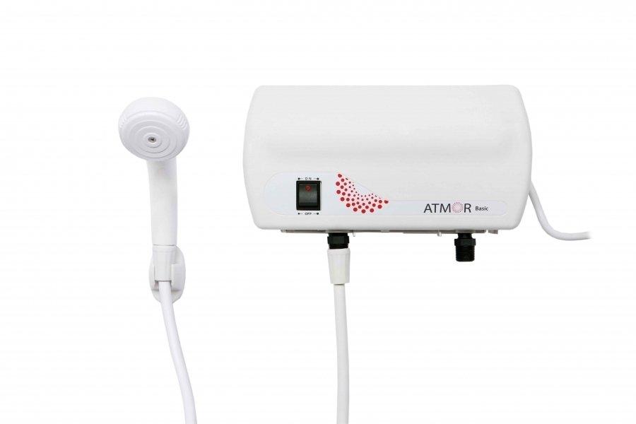 Проточный водонагреватель 3,5 кВт Atmor Basic 3500 Душ3.5 кВт<br>Проточный водонагреватель 3,5 кВт на душ Basic 3500 Душ характеризуется компактными габаритными размерами и легким весом. Скорость нагрева и производительность также очень впечатляют. Нагреватель за минуту нагревает 2,4 литра воды. Не предназначен для работы от косвенного источника тепла: это самостоятельный прибор с собственным интегрированным ТЭНом. <br><br>Страна: Израиль<br>Производитель: Китай<br>Темп. нагрева, С: 75<br>Способ нагрева: Электрический<br>Производительность: 2,4 л/мин<br>Мощность, кВт: 3,5<br>Защита от перегрева: Есть<br>LCD дисплей: None<br>Управление: Механическая<br>Тип установки: Вертикальная<br>Подводка: Нижняя<br>Комплектация: Душ<br>Тип подачи: Безнапорный<br>Напряжение сети, В: 220 В<br>Габариты ШхВхГ, см: 30х16х9<br>Вес, кг: 1<br>Гарантия: 3 года<br>Ширина мм: 300<br>Высота мм: 160<br>Глубина мм: 90