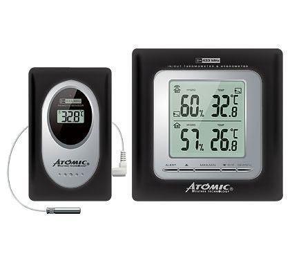Цифровая метеостанция Atomic W239009 BlackС радиодатчиком<br>Настенная метеостанция&amp;nbsp; Atomic W239009 Black &amp;ndash;&amp;nbsp;электронный компактный прибор для дома с датчиками температуры и влажности &amp;ndash; термометр-гигрометр. Прибор, установленный в помещении, позволяет контролировать параметры не только внутреннего воздуха, но и состояние погодных условий на улице. Термометр-гигрометр&amp;nbsp;W239009&amp;nbsp;работает с выносным радиодатчиком, для измерения низких или высоких значений температур следует подключить дистанционный термосенсор (входит в комплект поставки).<br><br>Страна: Канада<br>Диапазон темп. t, С: 50+70<br>Диапазон p, мм. рт. ст.: None<br>Диапазон rH, : 2090<br>Разрешение t, С: 0,1<br>Цвет корпуса: Черный<br>Питание, В: Батарейки<br>Колво батареек: 2<br>Тип батарейки: АА<br>Адаптер к 220В: Нет<br>В комнате t, С: Да<br>За окном t, С: Да<br>Влажность в помещении: Да<br>Влажность за окном: Да<br>Давление: Нет<br>Прогноз погоды: Нет<br>Лунный календарь: Нет<br>Размер, мм: 140х40х200<br>Вес, кг: 1<br>Гарантия: 1 год<br>Ширина мм: 40<br>Высота мм: 140<br>Глубина мм: 200