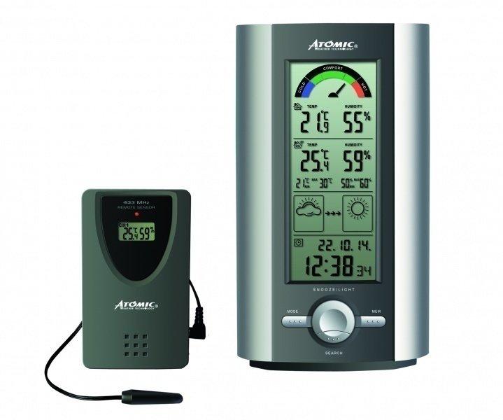 Цифровая метеостанция Atomic W739005-SС радиодатчиком<br>Контролировать основные параметры воздуха как внутри помещения, так и вне его поможет электронная метеостанция &amp;ndash; небольшой домашний прибор, например, модель&amp;nbsp;W739005-S от известного китайского бренда Atomic.&amp;nbsp;Благодаря дистанционному датчику, устанавливаемому на расстояние до 30 метров, пользователь может отслеживать метеорологические условия вне помещения, а наличие функции прогноза погоды позволяет быть в курсе изменения погодных условий на ближайшие 24 часа.&amp;nbsp;Представленная модель &amp;mdash; более современный аналог механическим погодным станциям.<br><br>Страна: Канада<br>Диапазон темп. t, С: 50+70<br>Диапазон p, мм. рт. ст.: None<br>Диапазон rH, : 2099<br>Разрешение t, С: 0,1<br>Цвет корпуса: Серый<br>Питание, В: Батарейки<br>Колво батареек: 3<br>Тип батарейки: АА<br>Адаптер к 220В: Нет<br>В комнате t, С: Да<br>За окном t, С: Да<br>Влажность в помещении: Да<br>Влажность за окном: Да<br>Давление: Нет<br>Прогноз погоды: Да<br>Лунный календарь: Да<br>Размер, мм: 118x27x 200<br>Вес, кг: 1<br>Гарантия: 1 год<br>Ширина мм: 27<br>Высота мм: 118<br>Глубина мм: 200