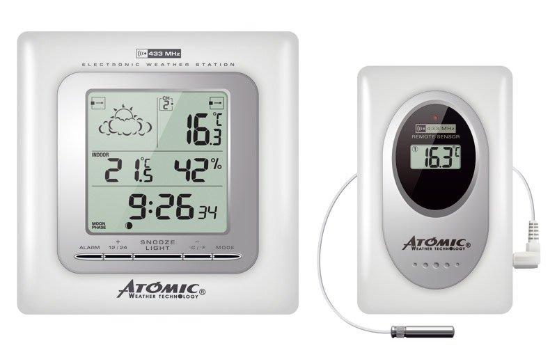 Цифровая метеостанция Atomic W739009-WhiteС радиодатчиком<br>Контролировать основные параметры воздуха как внутри помещения, так и вне его поможет электронная метеостанция &amp;ndash; небольшой прибор, установленный в доме, например, карманная беспроводная модель&amp;nbsp;W739009-White от Atomic.&amp;nbsp;Прибор может размещаться настенно в любых помещениях: спальнях, детских, кухнях, гостиных.<br><br>Страна: Канада<br>Диапазон темп. t, С: 50+70<br>Диапазон p, мм. рт. ст.: None<br>Диапазон rH, : 2099<br>Разрешение t, С: 0,1<br>Цвет корпуса: Белый<br>Питание, В: Батарейки<br>Колво батареек: 2<br>Тип батарейки: АА<br>Адаптер к 220В: Нет<br>В комнате t, С: Да<br>За окном t, С: Да<br>Влажность в помещении: Да<br>Влажность за окном: Нет<br>Давление: Да<br>Прогноз погоды: Да<br>Лунный календарь: Да<br>Размер, мм: 140х40х200<br>Вес, кг: 1<br>Гарантия: 1 год<br>Ширина мм: 40<br>Высота мм: 140<br>Глубина мм: 200