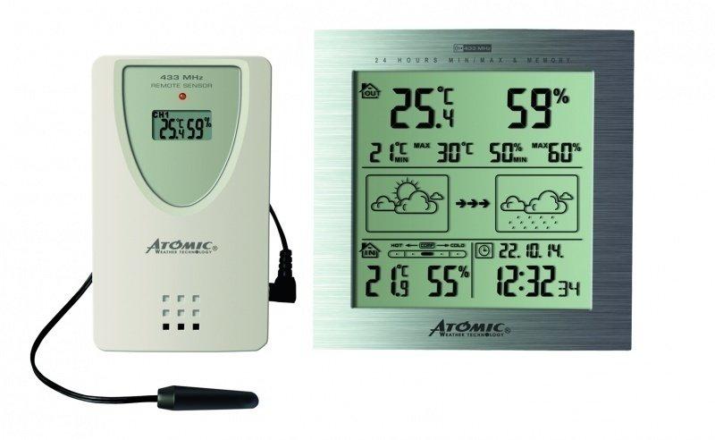 Цифровая метеостанция Atomic W739233-SС радиодатчиком<br>Контролировать основные параметры воздуха как внутри помещения, так и вне его поможет цифровая беспроводная метеостанция для дома W739233-S от Atomic в стильном корпусе. Данная модель относиться к метеостанциям с прогнозом погоды   на большом экране в виде графических символов отображается прогноз погоды на ближайшие сутки. Также на экран выводится информация о параметрах воздуха вне помещения и внутри его, в качестве дополнительных функций присутствуют календарь, электронные часы и будильник.<br><br>Страна: Канада<br>Диапазон темп. t, С: 50+70<br>Диапазон p, мм. рт. ст.: None<br>Диапазон rH, : 2099<br>Разрешение t, С: 0,1<br>Цвет корпуса: Серый<br>Питание, В: Батарейки<br>Колво батареек: 5<br>Тип батарейки: ААА<br>Адаптер к 220В: Нет<br>В комнате t, С: Да<br>За окном t, С: Да<br>Влажность в помещении: Да<br>Влажность за окном: Да<br>Давление: Нет<br>Прогноз погоды: Нет<br>Лунный календарь: Нет<br>Размер, мм: 117x23x104<br>Вес, кг: 1<br>Гарантия: 1 год<br>Ширина мм: 23<br>Высота мм: 117<br>Глубина мм: 104