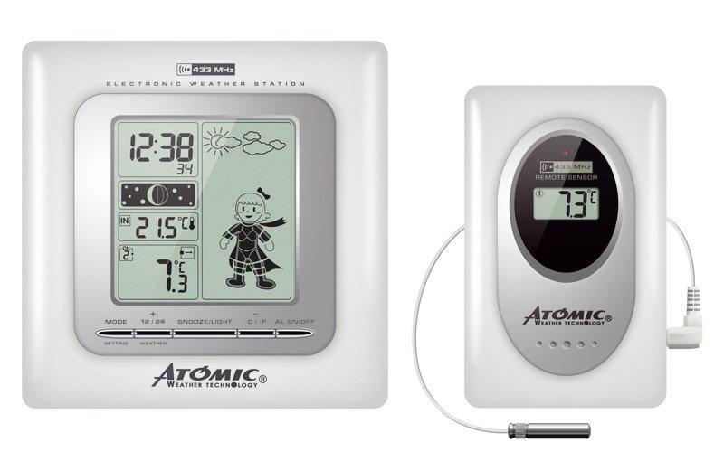 Цифровая метеостанция Atomic W839009-WhiteС радиодатчиком<br>Контролировать основные параметры воздуха как внутри помещения, так и вне его поможет электронная настенная метеостанция с беспроводным датчиком W839009-White от Atomic в белом корпусе.&amp;nbsp;Данная модель &amp;mdash; одна из лучших на российском рынке. Особенностью прибора является анимированный прогноз погоды: помимо обычных символов (облачно, ясно, дождь, снег) на экране отображается девочка, одетая по текущей погоде.<br><br>Страна: Канада<br>Диапазон темп. t, С: 50+70<br>Диапазон p, мм. рт. ст.: None<br>Диапазон rH, : None<br>Разрешение t, С: 0,1<br>Цвет корпуса: Белый<br>Питание, В: Батарейки<br>Колво батареек: 2<br>Тип батарейки: АА<br>Адаптер к 220В: Нет<br>В комнате t, С: Да<br>За окном t, С: Да<br>Влажность в помещении: Нет<br>Влажность за окном: Нет<br>Давление: Да<br>Прогноз погоды: Да<br>Лунный календарь: Да<br>Размер, мм: 140х40х200<br>Вес, кг: 1<br>Гарантия: 1 год<br>Ширина мм: 40<br>Высота мм: 140<br>Глубина мм: 200