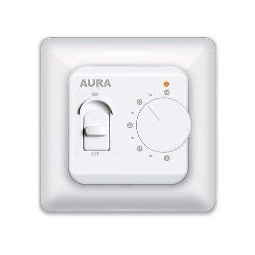 Теплый пол Aura LTC 130Терморегуляторы<br>Компактный терморегулятор AURA (Аура) LTC 130 устанавливается в помещениях с целью регуляции режима работы электрической отопительной системы. Оборудование отличается неприхотливой эксплуатацией, ведь переключатель температур и кнопка включить-выключить находится на лицевой части панели. Эргономичный дизайн конструкции впишется в интерьер любого помещенья.<br>Семейство терморегуляторов для систем обогрева теплый пол от немецкого бреда AURA - это всегда высокое качество и удобство в эксплуатации. Линейка представлена широким выбором моделей, где каждый пользователь найдет устройство себе по душе. Имеются недорогие модели с простой механической системой управления, а также устройства с электронным управлением, программируемые терморегуляторы и современные модели с сенсорным интерфейсом.<br> <br><br>Страна: Германия<br>Мощность, кВт: 3,52<br>Канальная мощность, кВт: None<br>Длина, м: 3,0<br>Программирование: Нет<br>Площадь, м?: None<br>Управление: Электромеханическое<br>Функция защиты от перегрева: None<br>Тип кабеля: None<br>Размер, мм: 86х86х50<br>Напряжение, В: 220 В<br>Вес, кг: 1<br>Гарантия: 1 год<br>Ширина мм: 86<br>Высота мм: 86<br>Глубина мм: 50