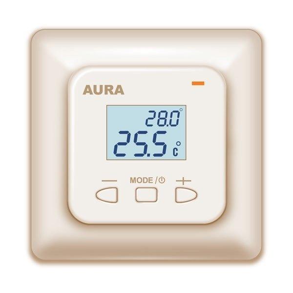 Теплый пол AuraТерморегуляторы<br>Модель терморегулятора AURA (Аура) LTC 530 кремовый отличается компактными размерами и быстрым монтажом. Оборудование устанавливается в зданиях разного типа для того, чтобы удобно регулировать режимы работы системы электрических теплых полов. Производитель вмонтировал специальный дисплей на лицевой части корпуса, благодаря которому пользователь в любое время может проследить за температурой.<br>Семейство терморегуляторов для систем обогрева теплый пол от немецкого бреда AURA - это всегда высокое качество и удобство в эксплуатации. Линейка представлена широким выбором моделей, где каждый пользователь найдет устройство себе по душе. Имеются недорогие модели с простой механической системой управления, а также устройства с электронным управлением, программируемые терморегуляторы и современные модели с сенсорным интерфейсом.<br> <br> <br> <br><br>Страна: Германия<br>Мощность, кВт: 3,6<br>Канальная мощность, кВт: None<br>Длина, м: None<br>Программирование: None<br>Площадь, м?: None<br>Управление: Электронное<br>Функция защиты от перегрева: Да<br>Тип кабеля: None<br>Размер, мм: 80х80х40<br>Напряжение, В: 220 В<br>Вес, кг: 1<br>Гарантия: 2 года<br>Ширина мм: 80<br>Высота мм: 80<br>Глубина мм: 40