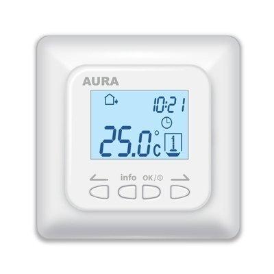 Теплый пол Aura LTC 730Терморегуляторы<br>LTC 730   это новая высокотехнологичная модель терморегулятора электронного типа от компании  AURA, разработанного для работы в системе  Теплый пол . Дисплей, которым оборудована панель управления устройством, располагает всей необходимой пользователю информацией, предусмотрена автоблокировка клавиш.<br>Главные особенности рассматриваемой модели терморегулятора от бренда  AURA:<br><br>Уникальный эргономичный дизайн.<br>Сверхтонкая установочная часть.<br>Программирование с интуитивным управлением.<br>Интеллектуальные функции.<br>Возможность работы без датчика температуры.<br>Самодиагностика на неисправность.<br>Встроенная система термозащиты.<br>Автоматическая блокировка клавиатуры<br><br><br>Страна: Германия<br>Мощность, кВт: None<br>Вес, кг: 1<br>Гарантия: 1 год