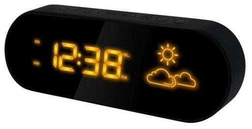 Часы без проекции BVItech BV-42YKHЧасы без проекции<br>Проснувшись утром, хотите знать, какая погода ожидает вас на улице, не вставая с кровати? Наш интернет-магазин рад предложить именно вам компактную метеостанцию модели BV-42YKH, разработанную компанией BVItech. Гаджет покажет вам анимированный прогноз погоды на основе гигрометрических данных. Более того, аксессуар также оснащен часами и двумя будильниками, а работает от бытовой сети 220В.<br>Основные преимущества использования рассматриваемой модели погодной метеостанции от торговой марки BVItech:<br><br>Стильный эргономичный дизайн.<br>Компактные размеры конструкции.<br>Анимированный гигрометрический прогноз погоды.<br>Встроенный гигрометр.<br>Клавиши с сенсорным управлением.<br>Измерение и индикация температуры внутри помещения.<br>Часы: высота цифр 2 см (0,78&amp;rdquo;).<br>Два варианта установки будильника.<br>Желтое свечение цифр.<br>Высота цифр дисплея &amp;ndash; 2 см (0,78&amp;rdquo;).<br>Сетевой адаптер АС 220В, 50Гц DC 5.5B/500mA,.<br>Высокое качество и комфорт в управлении.<br><br>Вы хотите иметь собственный барометр и быть в курсе погодных условий? Тогда вам, несомненно, стоит присмотреться к домашним метеостанциям от торговой марки BVItech. В представленной серии приборов есть модели, которые показывают температуру воздуха внутри помещения и за окном, а есть и такие, которые способны предсказать прогноз погоды при помощи встроенного гигрометра и даже текущую фазу луны. Кроме того, некоторые модели семейства с легкостью заменят вам ночной светильник. Разнообразие дизайнерских решений также порадует каждого пользователя.&amp;nbsp;<br><br>Страна: Китай<br>Питание, В: 220 В<br>Тип батарейки: None<br>Колво батареек: None<br>Адаптер к 220В: Есть<br>С будильником: Да<br>Радиодатчик: None<br>С метеостанцией: Да<br>В помещении t, С: Да<br>За окном t, С: Нет<br>Влажность в помещении: Да<br>Влажность за окном: Нет<br>Давление: Нет<br>Прогноз погоды: Да<br>Габариты, мм: 198х38х65<br>Вес, кг: 1<br>Гарантия: 1 г