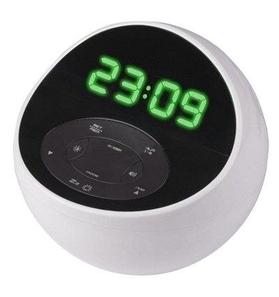 Часы без проекции BVItech BV-48GWKЧасы без проекции<br>Часы BV-48GWK, разработанные компанией BVItech, сразу бросаются в глаза своим дизайном. Их оригинальная форма в виде незаконченной сферы сможет стать стильным дополнением современного интерьера. А широкие функциональные возможности понравятся всем ценителям комфорта. Представленная модель не только показывает время: здесь есть и радиоприемник, и MP3-проигрыватель, и даже светильник. Управляются часы с помощью удобной электронной панели, расположенной под дисплеем.<br>Основные преимущества использования рассматриваемой модели настольных электронных часов от торговой марки BVItech:<br><br>Невероятно стильный облик, компактные размеры.<br>Декоративный светильник с функцией включения радио и светильника Wake-by-Radio.<br>Цифровой радиоприемник.<br>Часы 0,7(18 мм).<br>Цифровой индикатор.<br>2 будильника с повторяющимся&amp;nbsp; сигналом.<br>Звуки природы: щебетанье птиц, лесной шум, морской бриз, весенний дождь.<br>Возможность подключения внешнего аудио источника.<br>Резервные батареи 1,5Вх3 шт./тип ААА.<br>Сетевой адаптер.<br>Высокое качество и комфорт в управлении.<br><br>Предлагаем вашему вниманию серию уникальных новинок от компании BVItech &amp;ndash; настольные электронные часы нового поколения. Все модели отличаются максимальным удобством в использовании. Помимо функции часов, такие устройства оснащены функцией будильника. Некоторые модели способны послужить в качестве светильника, а несколько устройств поддерживают функцию радио, могут работать в качестве радиоприемника, и даже оснащены линейным выходом и портом USB. Абсолютно все модели выполнены в стильном современном дизайне.&amp;nbsp; Для работы в ночное время суток реализована возможность регулировки яркости.<br><br>Страна: Китай<br>Питание, В: Сеть/Бат.<br>Тип батарейки: AAA<br>Колво батареек: 3<br>Адаптер к 220В: Есть<br>С будильником: Да<br>Радиодатчик: Да<br>С метеостанцией: None<br>В помещении t, С: Нет<br>За окном t, С: Нет<br>Влажность в помещени