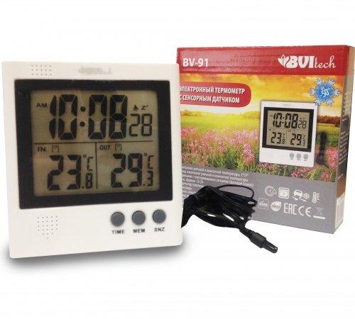 Цифровая метеостанция BVItech BV-91Без радиодатчика<br>Проводная метеостанция с будильником и сенсорным датчиком&amp;nbsp;BVItech (Бивитек) BV-91&amp;nbsp;&amp;mdash; это отличный выбор для вашего дома, который может расширить функционал комнаты и подарить вам возможность следить за погодой в любое время суток. Цифровой прибор предназначается для измерения температурного показателя внутри и снаружи жилого помещения &amp;mdash; минимальное и максимальное значение остается в памяти.<br><br>Страна: Китай<br>Диапазон темп. t, С: 50+70<br>Диапазон p, мм. рт. ст.: None<br>Диапазон rH, : None<br>Разрешение t, С: None<br>Цвет корпуса: Белый<br>Питание, В: Батарейки<br>Колво батареек: 3<br>Тип батарейки: AAA<br>Адаптер к 220В: Есть<br>В комнате t, С: Нет<br>За окном t, С: Нет<br>Влажность в помещении: Нет<br>Влажность за окном: Нет<br>Давление: Нет<br>Прогноз погоды: Нет<br>Лунный календарь: Нет<br>Размер, мм: 117x117x25<br>Вес, кг: 1<br>Гарантия: 1 год<br>Ширина мм: 117<br>Высота мм: 117<br>Глубина мм: 25