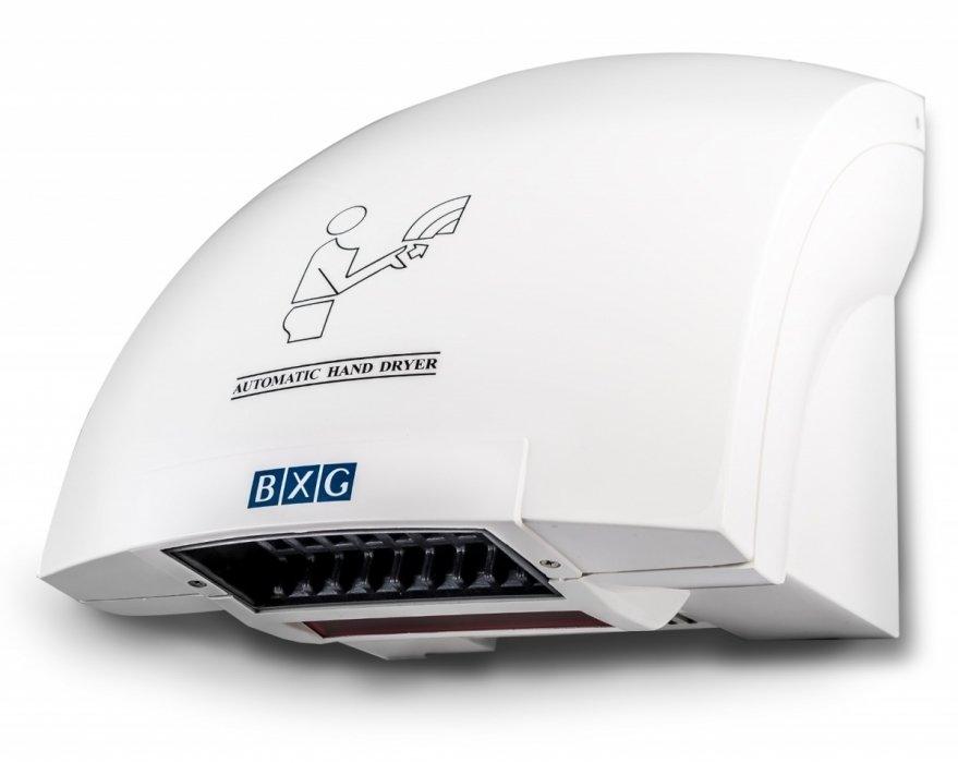 Пластиковая сушилка для рук BXG 200Пластиковые<br>Сушилка для рук модели BXG-200 имеет корпус, который изготовлен  из пластика с усиленной прочностью ABS. Устройство, при использовании, издает совсем немного шума. Включение обеспечивается за счет срабатывания сенсорных датчиков. Исходящая воздушная струя, имеет температуру не выше 55  С. Встроенный сенсор, срабатывает с расстояния в15 сантиметров. Сушилка предназначена для использования в различных местах общественного пользования.<br>Электрические сушилки для рук являются  незаменимыми и надежными устройствами  для широко посещаемых мест.<br>Такие устройства работают по очень простому принципу. Они срабатывают, как только появится желание высушить руки. Такие приборы имеют электронный датчик движения, а также автоматический  режим, поэтому, когда вы перестаете сушить руки, убрав их, сушилка сама выключается автоматически. Для того, что бы установить сушилку следует определить оптимальное место, где такая техника не будет срабатывать от случайных движений. <br>Сушилки от BXG могут быть из пластика и металла, причем первые нужно  покупать, если хотите сэкономить свой бюджет или такими приборами будет пользоваться относительно немного людей. Металлические сушилки антивандальные, отличаются особенной прочностью и подходят для помещений, посещаемых большим количеством людей.<br>Выбирая сушилку для рук нужно учитывать, какая мощность будет вам важнее: мощность нагревательных элементов прибора или мощность двигателя. Идеальный вариант, когда мощность нагревательных элементов равняется 95% от всей мощности двигателя.<br> <br><br>Страна: Китай<br>Мощность, кВт: 2,0<br>Материал корпуса: Пластик<br>Поток воздуха м/с: 16<br>Степень защиты: IPX 1<br>Цвет корпуса: Белый<br>Минимальный уровень шума, дБа: 60<br>Объем воздушного потока, м3/час: 80<br>Средняя скорость высушивания, сек: 1220<br>Температура воздушного потока, С: 4054<br>Размеры, мм: 250х238х230<br>Вес, кг: 2<br>Гарантия: 1 год
