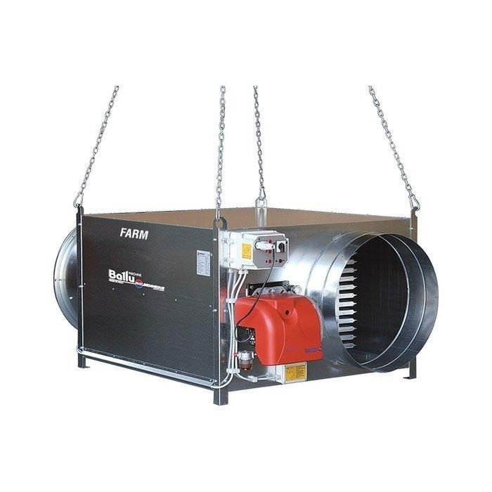Тепловая пушка Ballu-Biemmedue FARM 185 M (230 V -1- 50/60 Hz) GГазовые пушки<br>Для работы нагревателя воздуха обязательно дополнительное приобретение горелки и адаптера!<br><br>Профессиональный нагреватель воздуха Ballu-Biemmedue FARM 185 M (230 V -1- 50/60 Hz) G отлично подходит для установки в различных помещениях, относящихся к сельскохозяйственной сфере, где необходимо производить мощный обогрев и качественную вентиляцию. Устройство совершенно безопасно в использовании, удобно управляется и с высокой точностью поддерживает установленные рабочие параметры. <br>Особенности и преимущества:<br><br>Усиленный аэродинамический корпус из оцинкованной стали с термозвуковой изоляцией;<br>Новый теплообменик с КПД до 93%;<br>Низкий уровень шума вентилятора до 69 Дб/м;<br>Электронная система стабилизации пламени;<br>Различные термостаты: вентилятора, ограничения с автоматическим перезапуском, термостат ограничения с ручным перезапуском;<br>Защищенная распределительная коробка;<br>Возможность дополнительного удаленного подключения термостата, гигростата или таймера;<br>Крепления для подвешивания нагревателя;<br>Выбор различных фильтров для дизельной горелки;<br>Газовая рампа (EN 676): газовый фильтр, регулятор давления газа, предохранительный клапан, клапан подачи газа;<br>Осевой вентилятор со статическим давлением 200Па;<br>Предварительный нагрев камеры сгорания;<br>Автоматическая пост-вентиляция нагревателя;<br>Переключатель лето/зима для использования теплогенератора в качестве вентилятора.<br><br>FARM от Ballu-Biemmedue   это подвесные нагреватели воздуха непрямого нагрева, выполненные из высококачественных современных материалов и оборудованные передовой комплектацией. Такие тепловые устройства позволяют поддерживать нормальный микроклимат на фермах, в теплицах и на других объектах сельскохозяйственного назначения.  Теплогенераторы серии отличаются высоким КПД. <br><br>Страна: Италия<br>Тип: Универсальная<br>Мощность, кВт: 187,5/190,7<br>Площадь, м?: 1850<br>Скорость п