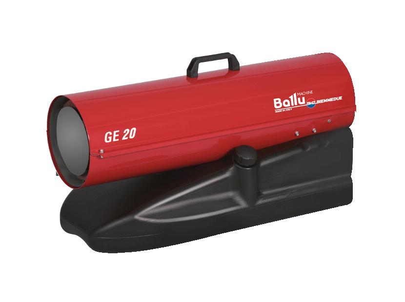 Тепловая пушка Ballu-Biemmedue GE 20Дизельные пушки<br>Профессиональное тепловое оборудование Ballu Biemmedue серии GE   это оборудование, предназначенное для работы в самых экстремальных климатических условиях. Серия GE 20   это мобильные нагреватели воздуха, работающие на дизельном топливе. Тепловые пушки GE 20   это экономичный обогрев с высоким КПД.<br>Основные характеристики товара:<br><br><br>Максимальная мощность обогрева 21,4 кВт<br>Большая обогреваемая площадь (до 215 м. кв.)<br>Обогреватели прямого нагрева<br>Работа на жидком топливе<br>Высокий КПД   100%<br>Электронная система стабилизации пламени (фотоэлемент)<br>Камера сгорания изготовлена из нержавеющей стали толщиной 1,2 мм<br>Предусмотрено автоматическое охлаждение камеры сгорания<br>Отсекатель на выходе из камеры сгорания из стали<br>Наличие предохранительного термостата<br>Блок управления с функцией самодиагностики   оригинальная разработка компании<br>Возможность подключения гигростата, термостата и таймера предусмотрен специальный разъем<br>Насосная подача топлива, топливные шланги в текстильной оплётке<br>Бак для топлива изготовлен из ударопрочного, морозостойкого материала<br>Топливный бак объемом 17-105 литров с навинчивающейся крышкой и удобным сливом топлива из бака<br>Мобильность   удобная ручка на корпусе и колесики на корпусе<br><br>Теплогенераторы широко используются в строительстве, сельском хозяйстве, животноводстве, промышленности; оборудование идеально подходит для сушки, оттаивания и обогрева. <br>Дизельные обогреватели серии GE являются лёгкими, компактными, мобильными устройствами с простой и удобной в эксплуатации панелью управления (уникальная разработка компании Ballu-Biemmedue).<br>Теплогенераторы серии GE обладают КПД близким к 100 %, благодаря полному сгоранию топлива и тому, что дымовые газы поступают в обогреваемое пространство. В связи с этим данное оборудование можно использовать только в помещениях с хорошей вентиляцией.<br>Для более комфортного использования этого нагр