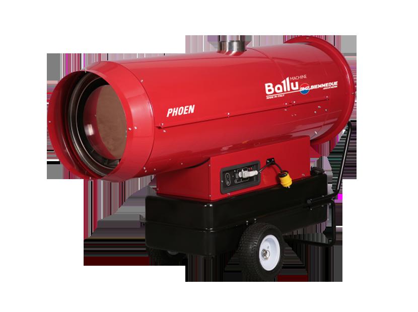 Тепловая пушка Ballu-Biemmedue PHOEN 110Дизельные пушки<br>PHOEN 110   мобильное оборудование для нагрева воздуха непрямого действия от компании Ballu-Biemmedue. Теплогенератор данной серии работает на жидком топливе, особенностью оборудования является уникальная горелка, собственной разработки компании. PHOEN 110 имеет 2 ступени мощности, а также может эксплуатироваться в летний период, без теплообменника.<br>Основные характеристики товара:<br><br>Максимальная мощность обогрева 117 кВт<br>Большая обогреваемая площадь (до 1170 м. кв.)<br>Непрямой нагрев (тепловентилятор имеет специальный патрубок для дымохода)<br>Работа на жидком топливе<br>Высокий КПД - 90%<br>2 ступени мощности (80 и 117 кВт)<br>Переключатель зима/лето (использование без нагрева);<br>Возможность регулировки интенсивности нагрева;<br>Уникальная дизельная горелка, собственной разработки Biemmedue<br>Электронная система стабилизации пламени<br>Камера сгорания изготовлена из нержавеющей стали толщиной 1,2 мм с 4-х ходовым теплообменником<br>Предусмотрено автоматическое охлаждение камеры сгорания<br>Воздух для горелки забирается отдельно<br>Предусмотрен термостат вентиляции   возможность регулировки вентилятора в зависимости от температуры в камере сгорания<br>Наличие предохранительного термостата, а также ограничительного термостата<br>Блок управления   оригинальная разработка компании<br>Возможность подключения гигростата, термостата и таймера предусмотрен специальный разъем<br>Топливный бак объемом 135 литров с навинчивающейся крышкой и удобным сливом топлива из бака<br>В комплекте шнур питания с вилкой длиной 1,5 м<br><br>Мобильные теплогенераторы, работающие на жидком топливе, серии PHOEN 110 от Ballu-Biemmedue характеризуются наличием камеры сгорания с 4-х ходовым теплообменником и топливным баком (объемом 135 литров).<br>Данное оборудование   это тепловые генераторы непрямого нагрева, которые должны подключаться к дымоходу. Коэффициент полезного действия составляет 90%.<br>Особенностью оборудова