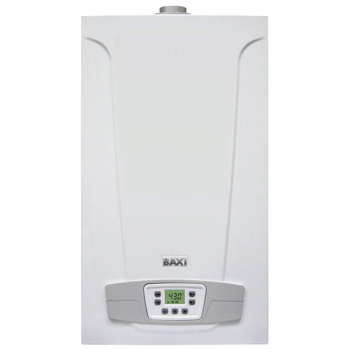 Котел Baxi ECO5 COMPACT 14F12 кВт<br>Модель BAXI (БАКСИ) ECO5 COMPACT 14F представляет собой эффективный и технологичный газовый котел с электронным управлением и серьезной системой безопасности, представленный в новейшем ультракомпактном корпусе из материалов особого качества. Рассматриваемая модель служит в течение многих лет, не требует дорогого и сложного технического обслуживания, а также совсем не производит шума.<br>Особенности и преимущества настенных газовых котлов BBaxi серии ECO-5 Compact<br>  Газовая система<br><br>Непрерывная электронная модуляция пламени в режимах отопления и ГВС;<br>Котлы адаптированы к российским условиям. Устойчиво работают при понижении входного давления природного газа до 4 мбар в диапазоне питающего напряжения 170 270 В;<br>Повышенная адаптивность котла к условиям дымоудаления, отличающимся от нормированных;<br>Плавное электронное зажигание;<br>Рассекатели пламени на горелке изготовлены из нержа веющей стали;<br>Возможна перенастройка для работы на сжиженном газе.<br><br>  Гидравлическая система<br><br>Гидравлическая группа из композитных материалов;<br>Турбинный датчик протока горячей воды (расходомер);<br>Энергосберегающий циркуляционный насос со встроенным автоматическим воздухоотводчиком;<br>Первичный медный теплообменник, покрытый специальным составом для дополнительной защиты от коррозии;<br>Вторичный пластинчатый теплообменник из нержавеющей стали (двухконтурные модели);<br>Трехходовой клапан с электрическим сервоприводом (двухконтурные модели);<br>Манометр;<br>Автоматический байпас;<br>Постциркуляция насоса;<br>Фильтр на входе холодной воды;<br>Возможность подключения к солнечным коллекторам.<br><br>  Температурный контроль<br><br>Два диапазона регулирования температуры в системе отопления: 30 85 С и 30 45 С (режим  теплые полы );<br>Встроенная погодозависимая автоматика (возможность подключения датчика уличной температуры);<br>Регулирование и автоматическое поддержание заданной температуры в контурах отопления и ГВС;<br>