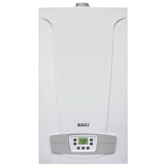 Котел Baxi ECO5 COMPACT 24F24 кВт<br>Газовый настенный котел BAXI (БАКСИ) ECO5 COMPACT 24F производительно служит на протяжении многих лет, отличается устойчивостью к преждевременному износу, а также имеет в комплектации передовую высокотехнологичную систему безопасности. Данное устройство идеально служит на любых жилых участках, где нужно наладить оптимальный микроклимат в холодные месяцы.<br>Особенности и преимущества настенных газовых котлов BBaxi серии ECO-5 Compact<br>  Газовая система<br><br>Непрерывная электронная модуляция пламени в режимах отопления и ГВС;<br>Котлы адаптированы к российским условиям. Устойчиво работают при понижении входного давления природного газа до 4 мбар в диапазоне питающего напряжения 170 270 В;<br>Повышенная адаптивность котла к условиям дымоудаления, отличающимся от нормированных;<br>Плавное электронное зажигание;<br>Рассекатели пламени на горелке изготовлены из нержа веющей стали;<br>Возможна перенастройка для работы на сжиженном газе.<br><br>  Гидравлическая система<br><br>Гидравлическая группа из композитных материалов;<br>Турбинный датчик протока горячей воды (расходомер);<br>Энергосберегающий циркуляционный насос со встроенным автоматическим воздухоотводчиком;<br>Первичный медный теплообменник, покрытый специальным составом для дополнительной защиты от коррозии;<br>Вторичный пластинчатый теплообменник из нержавеющей стали (двухконтурные модели);<br>Трехходовой клапан с электрическим сервоприводом (двухконтурные модели);<br>Манометр;<br>Автоматический байпас;<br>Постциркуляция насоса;<br>Фильтр на входе холодной воды;<br>Возможность подключения к солнечным коллекторам.<br><br>  Температурный контроль<br><br>Два диапазона регулирования температуры в системе отопления: 30 85 С и 30 45 С (режим  теплые полы );<br>Встроенная погодозависимая автоматика (возможность подключения датчика уличной температуры);<br>Регулирование и автоматическое поддержание заданной температуры в контурах отопления и ГВС;<br>Цифровая индикация температуры