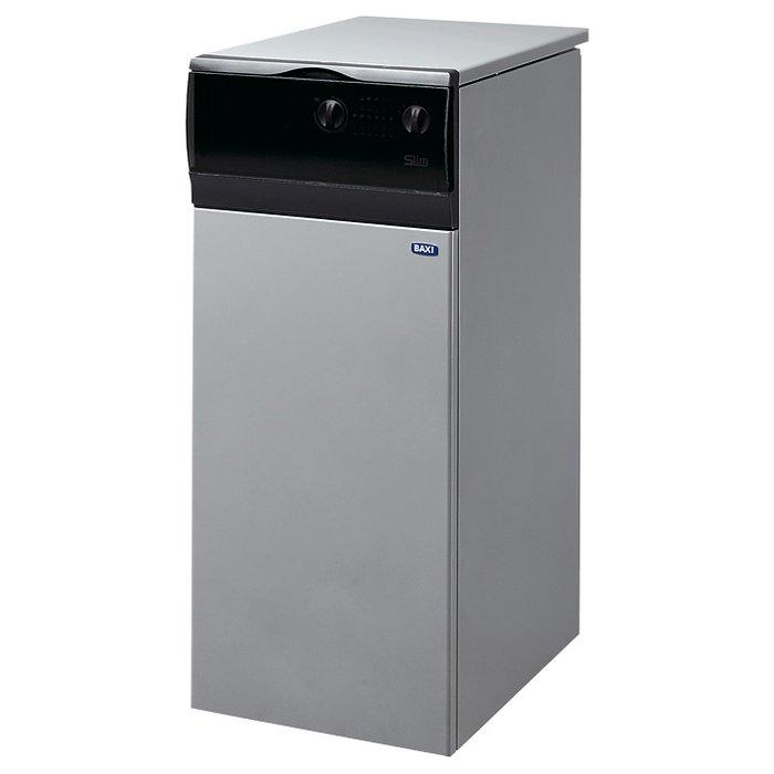 Котел Baxi SLIM 1.150i 3E12 кВт<br>Газовый котел напольного типа Baxi (Бакси) SLIM 1.150i 3E   это эргономичное и многофункциональное оборудование, предназначенное для оснащения жилых объектов теплом и горячей водой. Практичный дизайн позволяет с комфортом размещать такое устройство в помещениях с любым ремонтом, а компактные размеры котла гарантируют простой и удобный монтаж даже на небольшой территории.<br>Особенности и преимущества настенных газовых котлов Baxi серии  Slim<br>  Газовая система<br><br>Непрерывная электронная модуляция пламени, как в режиме отопления, так и в режиме ГВС;<br>Плавное электронное зажигание;<br>Горелка из нержавеющей стали;<br>Котлы адаптированы к российским условиям. Устойчиво работают при понижении входного давления природного газа до 5 мбар;<br>Возможна перенастройка для работы на сжиженном газе.<br><br>  Гидравлическая система<br><br>Чугунный первичный теплообменник;<br>Высокоскоростной циркуляционный насос с автоматическим воздухоотводчиком (кроме моделей iN);<br>Встроенный бойлер для горячей воды (в двухконтурных моделях);<br>Отдельный насос для бойлера (в двухконтурных моделях);<br>Манометр (кроме моделей iN);<br>Постциркуляция насоса;<br>Возможность подключения внешнего накопительного бойлера для горячей воды.<br><br>  Температурный контроль<br><br>Два диапазона регулирования температуры в системе отопления: 30-85 С и 30-45 С (режим  теплые полы );<br>Устройство дистанционного управления с климатическим регулятором (поставляется отдельно);<br>Встроенная погодозависимая автоматика (возможность подключения датчика уличной температуры);<br>Регулирование и автоматическое поддержание заданной температуры в контуре отопления;<br>Регулирование и автоматическое поддержание заданной температуры в бойлере (для моделей со встроенным или отдельным бойлером);<br>Возможность подключения программируемого таймера;<br>Электронная индикация температуры.<br><br>  Устройства контроля и безопасности<br><br>Электронная система самодиагностики;<br>Ио