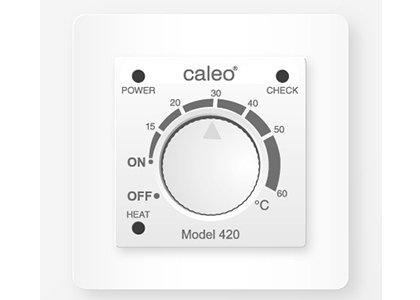Теплый пол Caleo 420 с адаптерамиТерморегуляторы<br>CALEO 420 представляет собой встраиваемый терморегулятор для управления системой теплый пол. Имеет механическое управление, подходит для отопительных систем других производителей, а комплект поставки предусматривает специальные адаптеры.<br>Заботясь о комфорте пользователей своего оборудования, торговая марка CALEO разработала линейку аксессуаров, которые делают использование отопительных систем более простым и удобным. Посетители найдут большой выбор терморегуляторов для теплых полов от этого бренда: встраиваемые, с адаптером и без, с пультом и ручным управлением.<br><br>Страна: Россия<br>Мощность, кВт: None<br>Канальная мощность, кВт: 2,0<br>Длина, м: None<br>Программирование: None<br>Площадь, м?: None<br>Управление: Механическое<br>Функция защиты от перегрева: None<br>Тип кабеля: None<br>Размер, мм: 85х85х50<br>Напряжение, В: 220<br>Вес, кг: 1<br>Гарантия: 2 года<br>Ширина мм: 85<br>Высота мм: 85<br>Глубина мм: 50