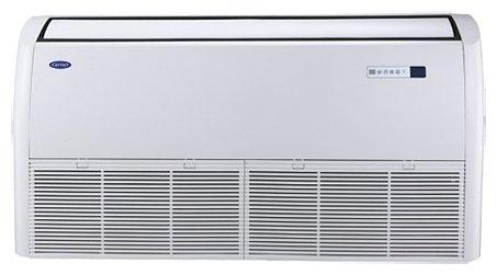 Напольно-потолочный кондиционер Carrier 42FTH0181001231/38HN0181123A5.5 кВт - 18 BTU<br>Напольно-потолочная сплит-система Carrier 42FTH0181001231/38HN0181123A весьма удобна в использовании и имеет богатый функционал, благодаря которому Вы можете создать в своем помещении идеальный для себя микроклимат. В зависимости от величины и формы помещения, внутренний блок может быть установлен на потолке или же на стене ближе к полу. В первом случае поток воздуха будет идти в верхней части помещения вдоль потолка, а во втором &amp;ndash; вверх по стене и под потолком расходиться по всей площади комнаты.<br>Особенности кондиционера:<br><br>Имеет два способа установки: на потолке и на стене<br>Работает на охлаждение и обогрев воздуха<br>Имеет режим вентиляции без изменения температуры воздуха<br>Автоматическое поддержание температуры<br>Режим мягкого осушения воздуха при чрезмерной влажности<br>Управление работой с пульта ДУ<br>Равномерное распределение воздуха в помещении<br>Озонобезопасный фреон R410A<br>Автоматический перезапуск с сохранением настроек<br>Возможно подключение сигнализации и удаленного выключателя<br>Самодиагностика неисправностей<br>Имеется таймер вкл/выкл<br>Усовершенствованная конструкция поддона для конденсата<br>Новая конструкция электромонтажной коробке обеспечивает легкий доступ<br>Регулировка скорости вращения вентилятора<br>Возможна регулировка направления потока воздуха<br>Система против образования льда<br>Имеет функцию запоминания настроек<br>Наружная панель легко моется<br>Универсальные комплектующие снижают ремонт прибора<br>Компактный размер и современный дизайн внутреннего блока<br><br>Сплит-система компании Carrier консольного типа имеет два вида монтажа: внизу на стене и на потолке. Одним из преимуществ кондиционера такого типа является то, что для установки внутреннего блока совершенно не обязательно иметь подвесной потолок, а его компактные размеры позволят разместить прибор даже при ограниченном пространстве.<br>Возможность регулирования с