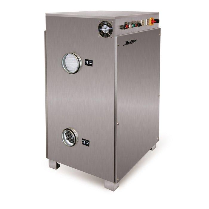Осушитель воздуха DanVex AD-1000&gt; 100 литров<br>DanVex (ДанВекс) AD-1000 &amp;ndash; это высокомощный осушитель воздуха, предназначенный для напольного монтажа и применяемый преимущественно на объектах с суровыми условиями эксплуатации, а также на промышленных предприятиях. Благодаря улучшенной передовой конструкции данное климатическое оборудование отличается сравнительной простотой управления и обслуживания.<br>Особенности и преимущества адсорбционного осушителя воздуха представленной модели:<br><br>&amp;nbsp;Автоматизированная работа системы осушения<br>Напольная установка<br>Адсорбционный&amp;nbsp;метод работы<br>Алюминиевый барабан<br>Влагозащитное покрытие поверхности<br>Качественный нагревательный элемент<br>Надежный фильтр<br>ЖК-дисплей для быстрого управления<br>Качественный дисплей для регулировки влажности<br>Индикатор нагревания<br>Защита от замерзания системы<br>Бесперебойная работа<br>Эстетичный внешний вид<br>Бесшумный вентилятор<br>Регулируемый гигростат<br><br>Встроенный барабан изготавливается из специально приготовленного профилированного алюминия, который образовывает осевые капилляры. Барабанную поверхность покрывают надежным влагозащитным веществом, которое так же предотвращает образование преждевременной коррозии. Благодаря данному конструктивному решению значительно повышается процесс впитывания влаги. Имеющийся ротор приводится в полную функциональную способность специальным электродвигателем при помощи ленточной передачи. Для задержания осушенного воздушного потока предусмотрено разделение его на осушающий и регенерирующий сектор. Сам процесс происходит в момент вращения барабана, который обеспечивает попадание увлажненного гигроскопического материала именно в регенерирующий сектор, через который пропускается нагретый воздух, впитывая влагу и выбрасывая его наружу. Встроенный ротор максимально долговечен и выдерживает любые нагрузки. Имеющееся адсорбирующее вещество способно произвести большое количество циклов регенерации.&amp;nbsp;<br>
